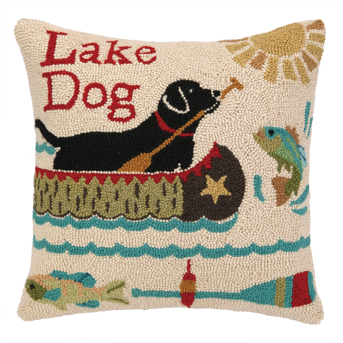 Dog Eating Wool Rug: Peking Handicraft Lake Dog Hook Wool Throw Pillow