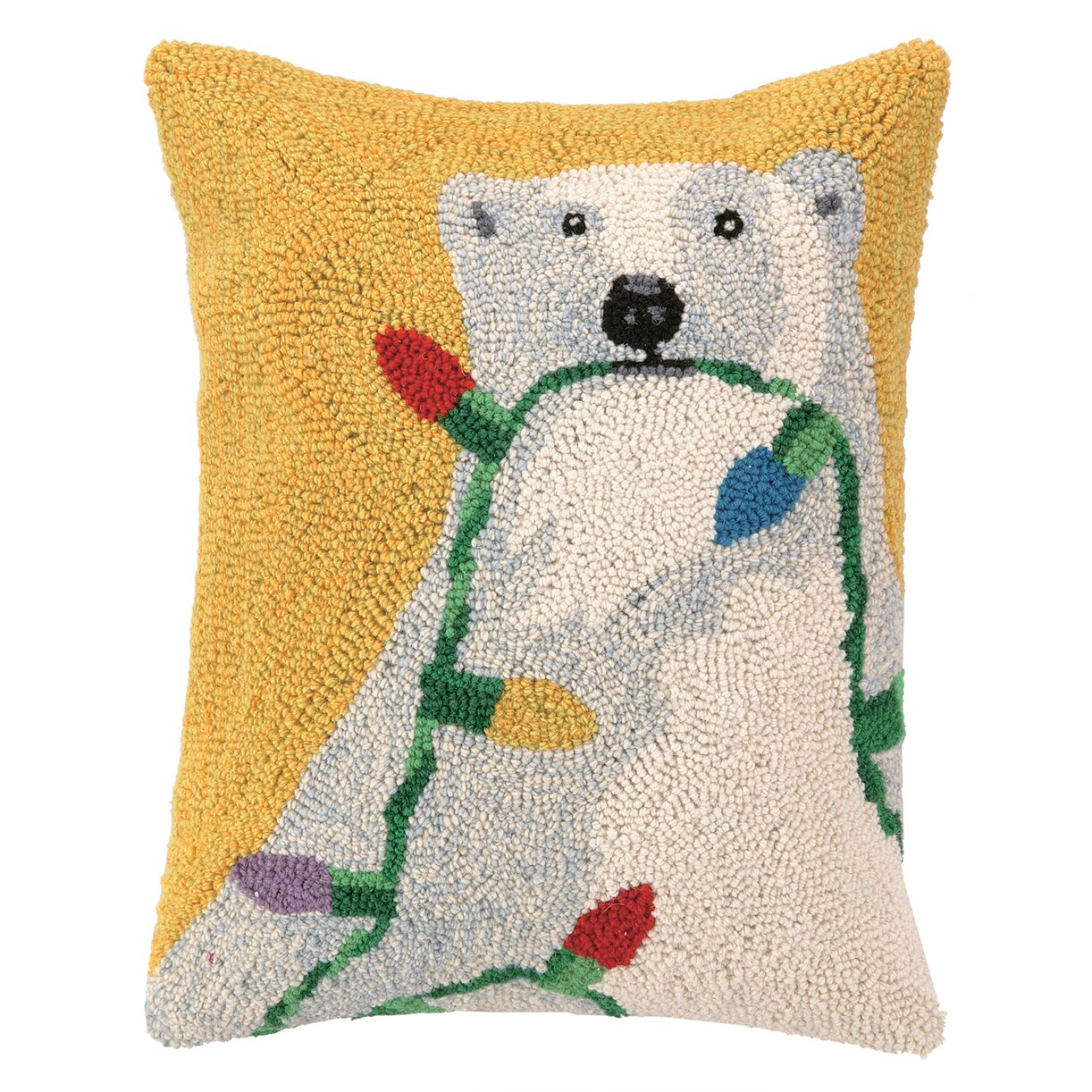 Polar Bear Throw Pillow : Peking Handicraft Polar Bear Lights Hook Wool Throw Pillow & Reviews Wayfair