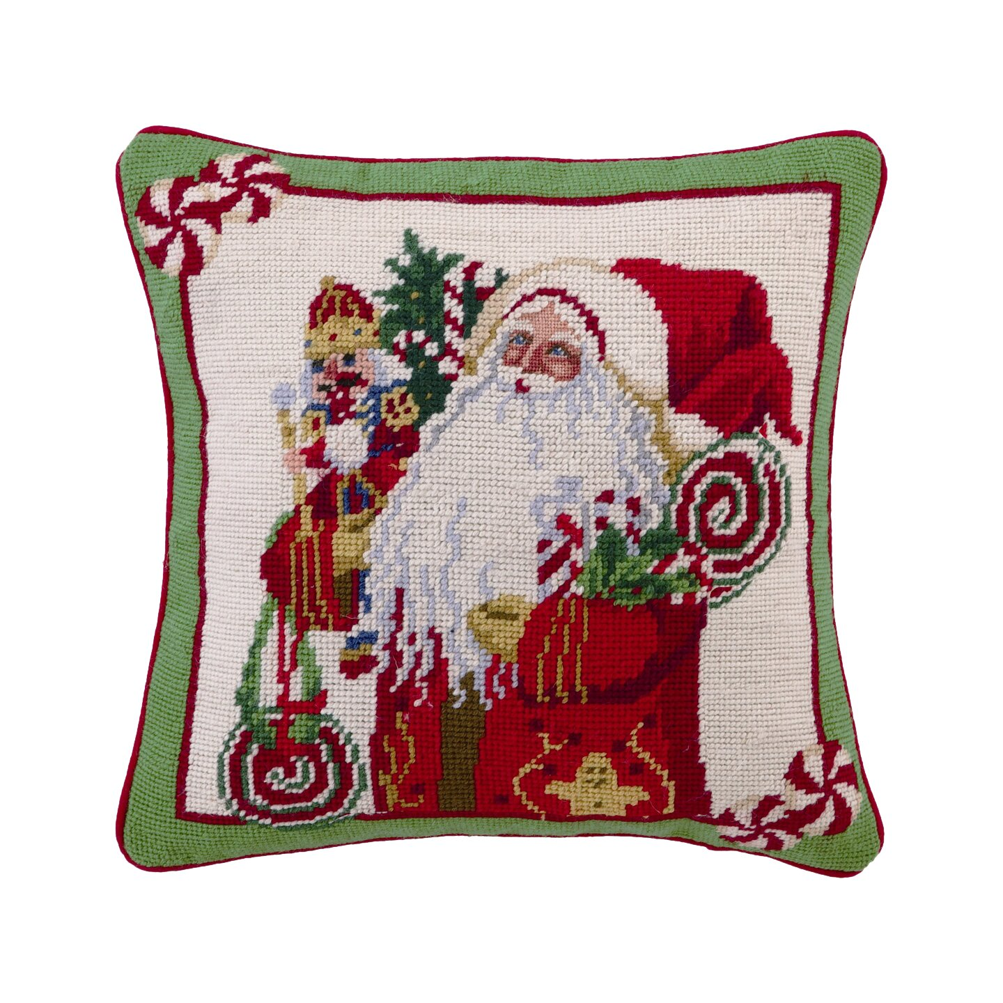 Needlepoint Pillow Decoration Crossword : Peking Handicraft Needlepoint Lolly Jolly Christmas Wool Throw Pillow & Reviews Wayfair