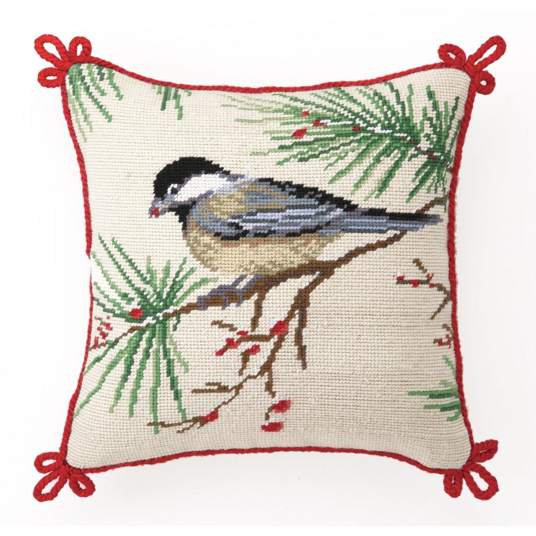 Peking Handicraft Needlepoint Chickadee Wool Throw Pillow & Reviews Wayfair