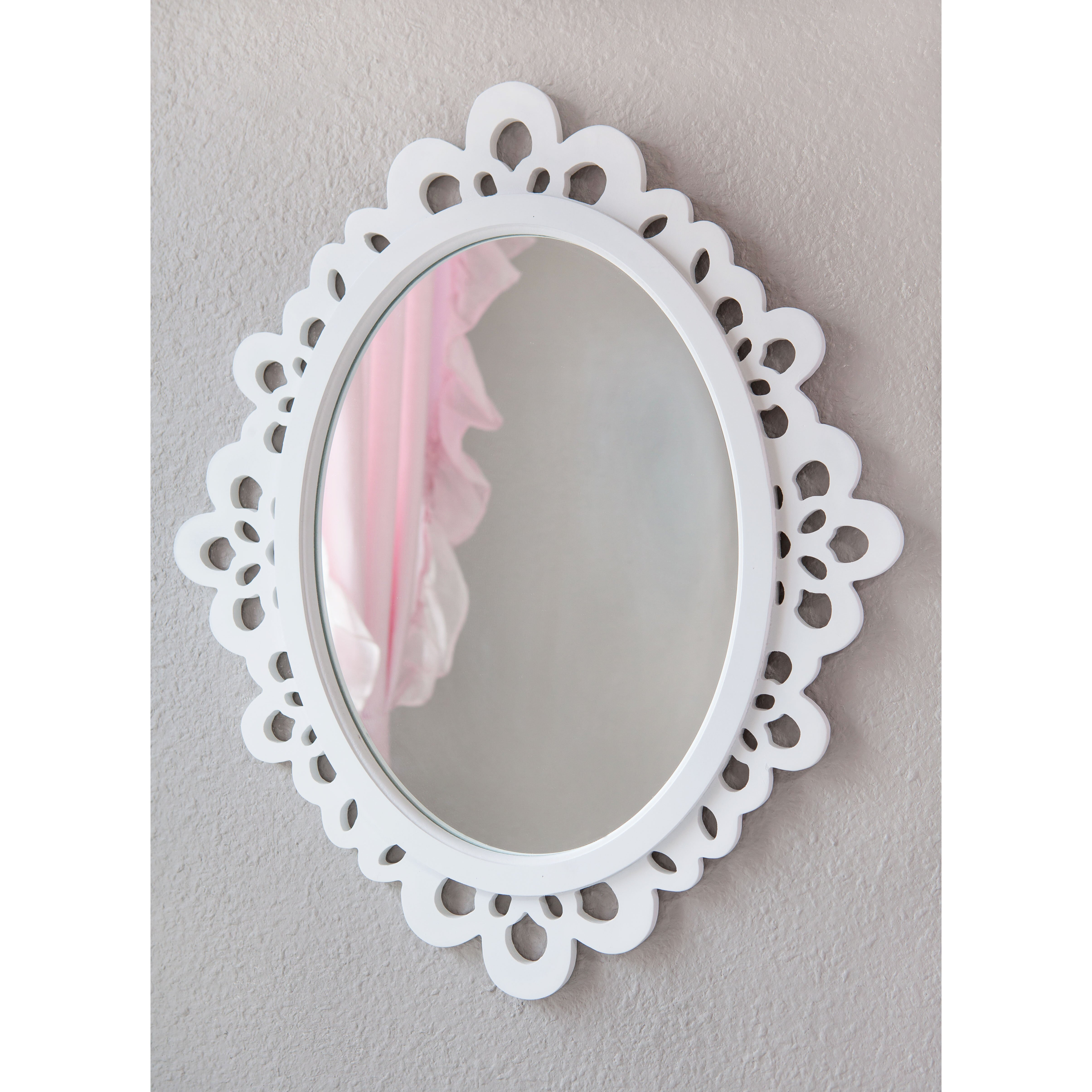 Heart to heart wood lace wall mirror reviews wayfair for Oval mirror canada