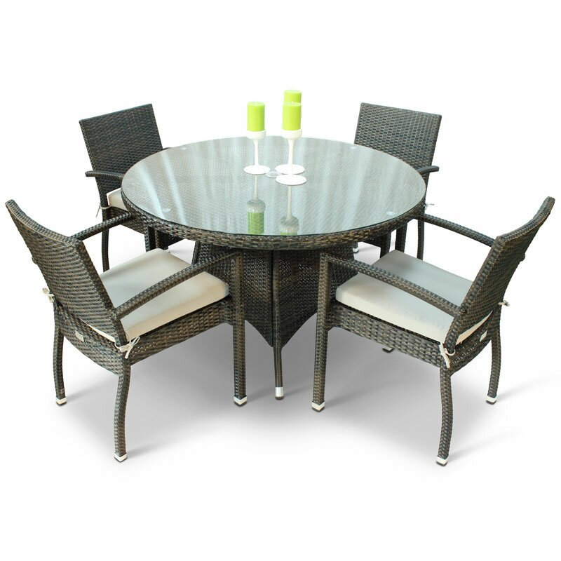 Brackenstyle Juliana Rattan Dining Set With Glass Top