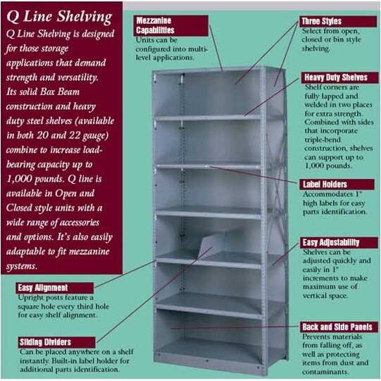 tennsco q line open 7 shelf shelving unit starter. Black Bedroom Furniture Sets. Home Design Ideas