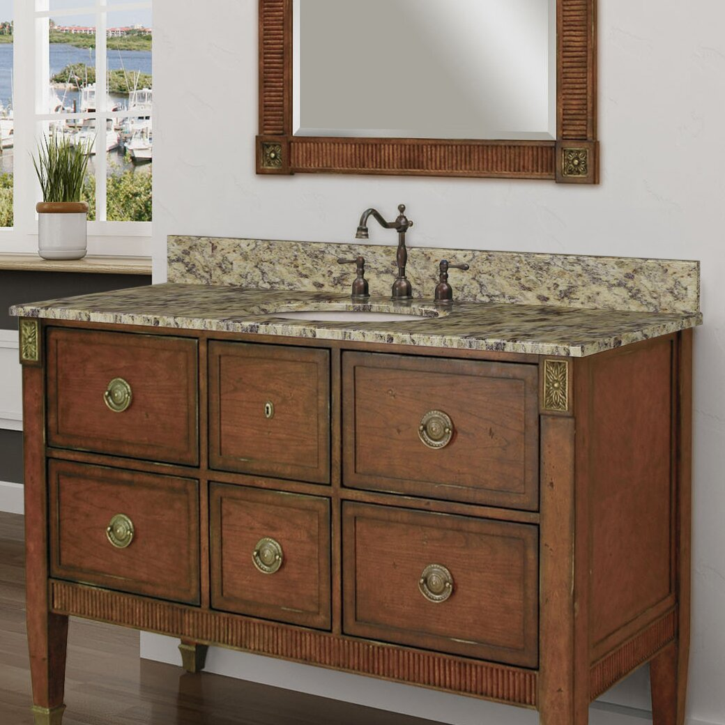 Sagehill granite 49 single bathroom vanity top wayfair for Bathroom vanity tops
