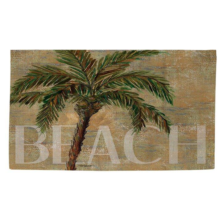 Beach Sand Area Rug: Manual Woodworkers & Weavers Beach Palm Green/Sand Area