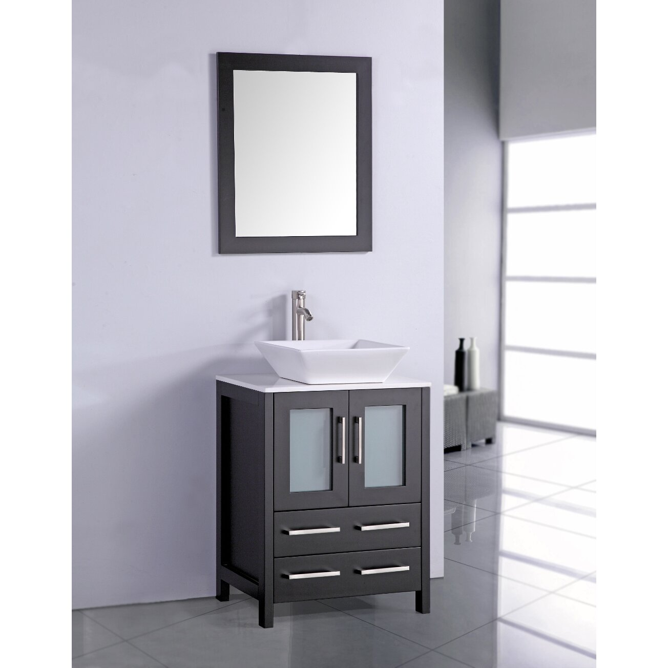 Legion furniture 24 single bathroom vanity set with for Single bathroom vanity