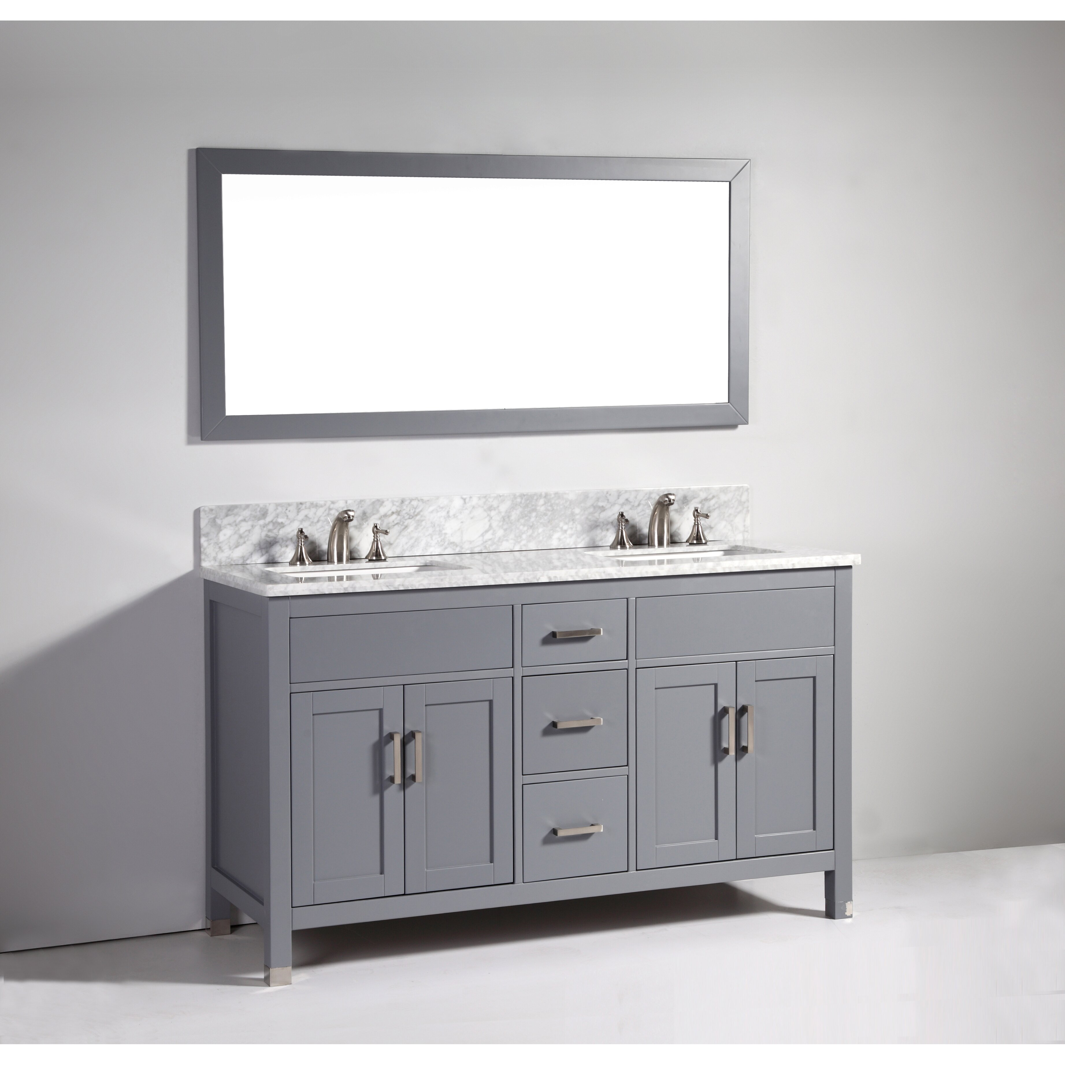 Legion furniture 60 double bathroom vanity set with for Bathroom mirror set