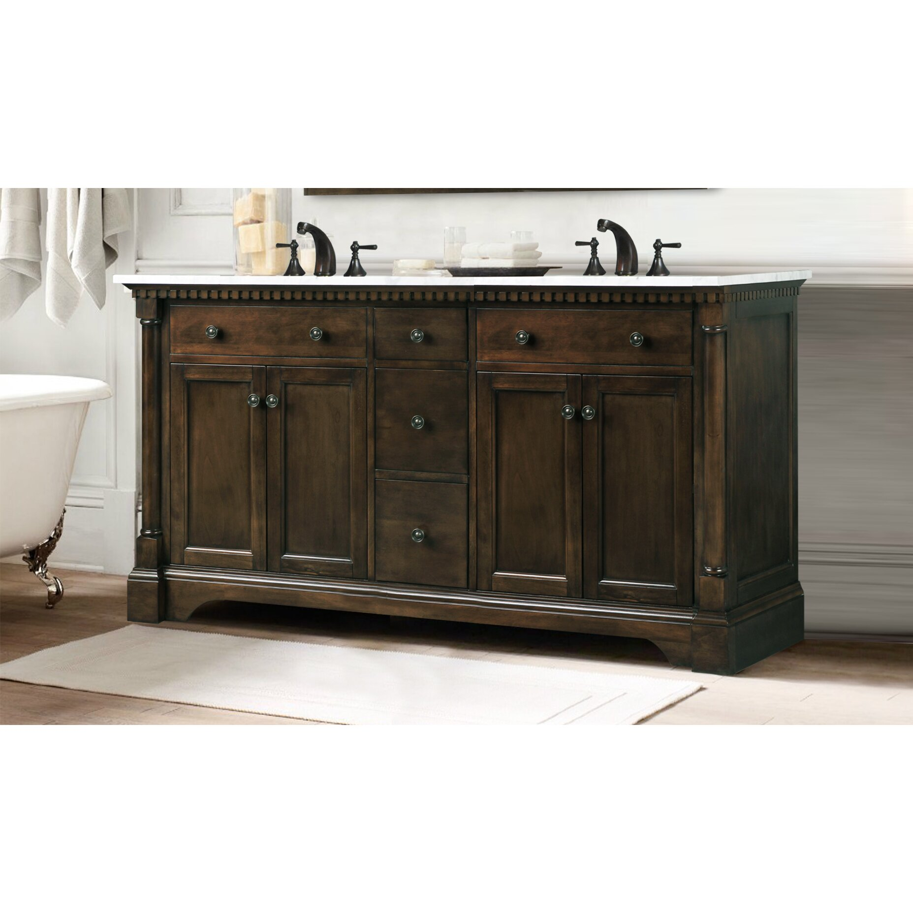 "Legion Furniture 60"" Double Bathroom Vanity & Reviews"