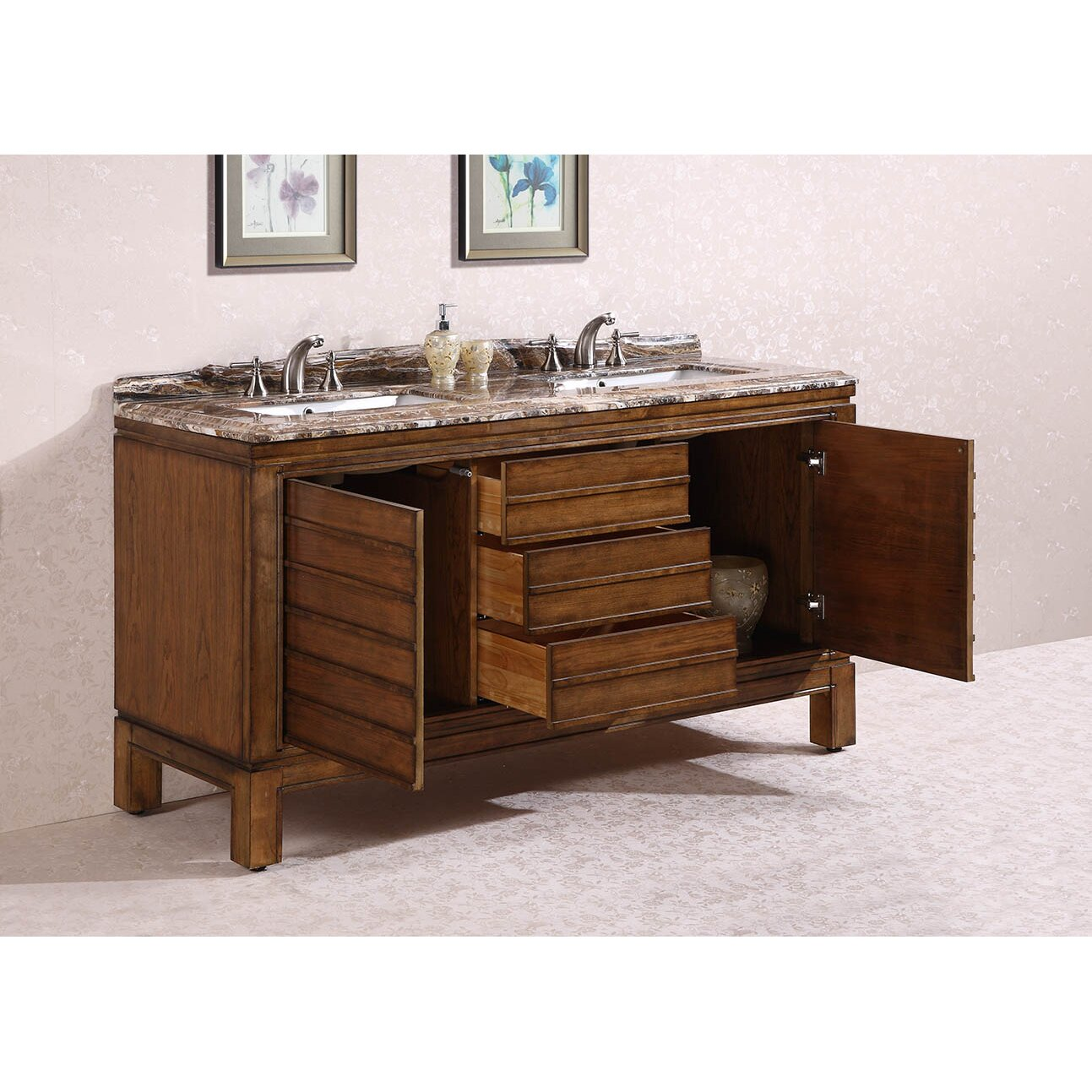 Legion furniture 68 double bathroom vanity set wayfair for Legion furniture 30 inch bathroom vanity