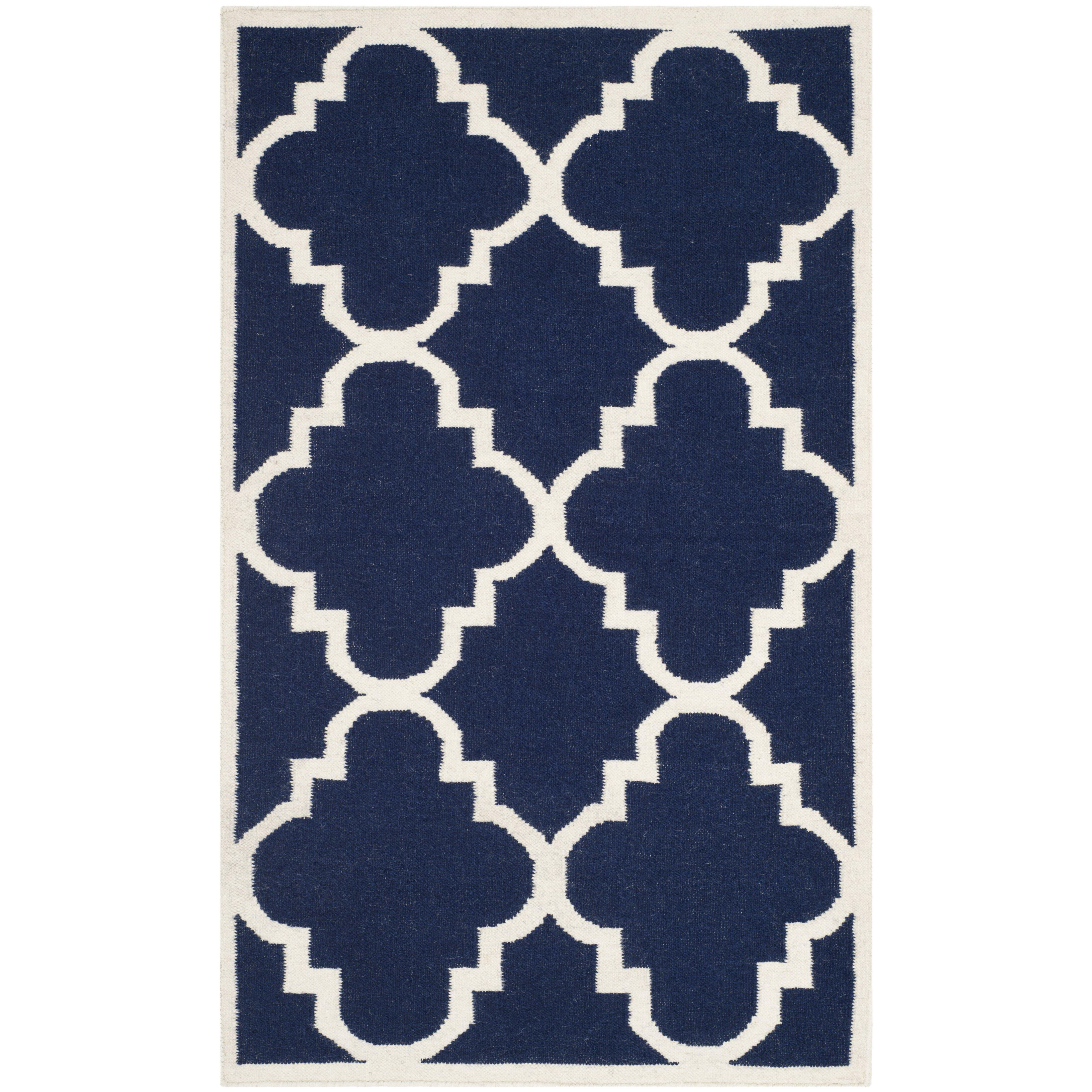 Safavieh Handgewebter Teppich Dhurrie in Dunkelblau