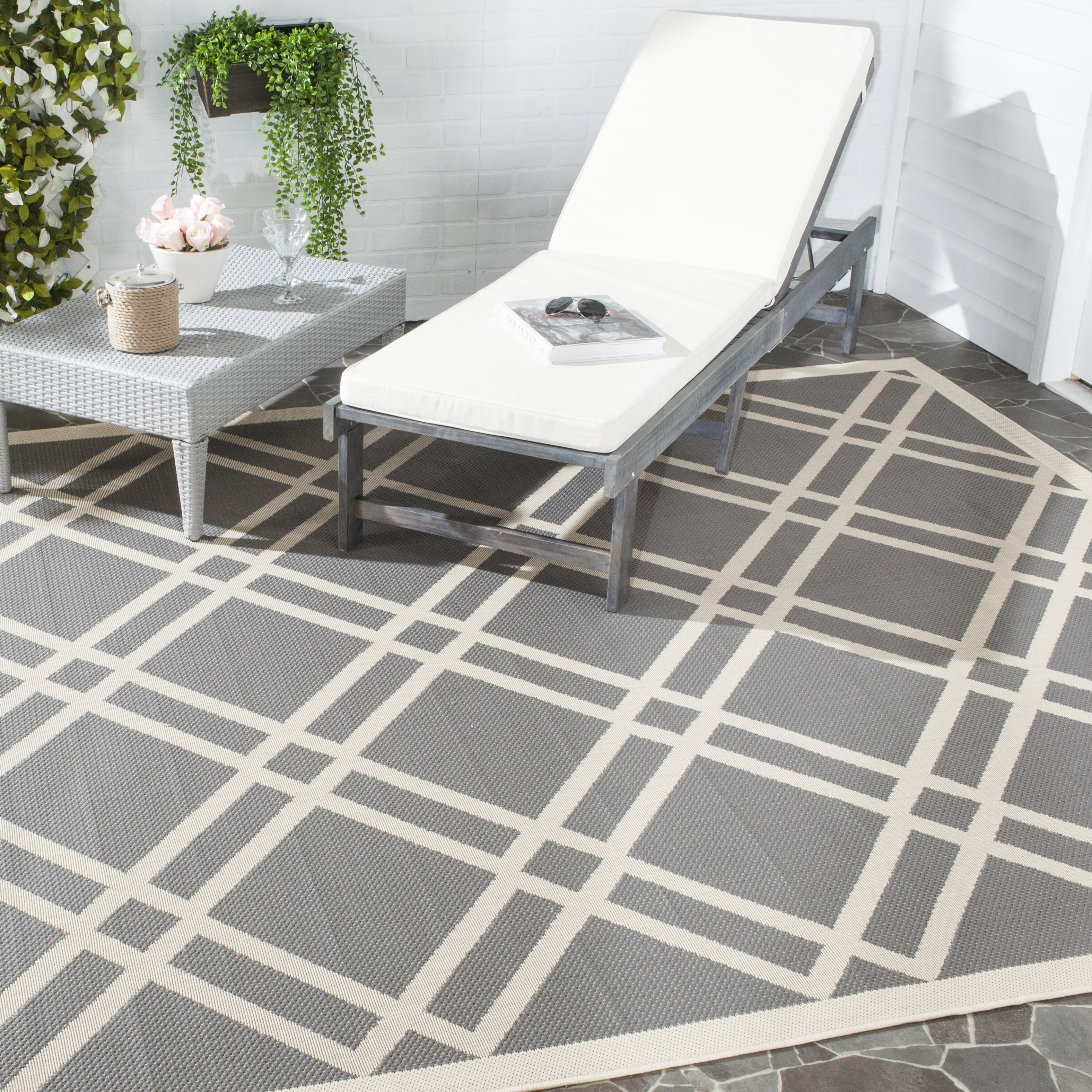 Safavieh Courtyard Beige Grey Indoor Outdoor Area Rug