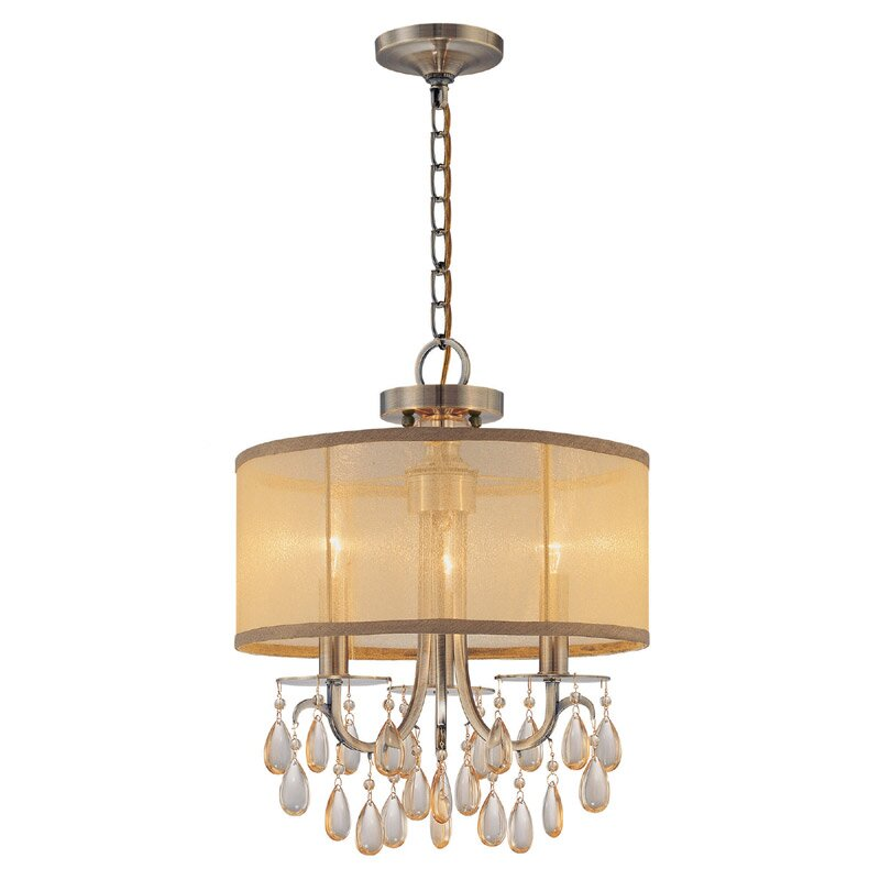 crystorama hampton 3 light mini chandelier reviews wayfair. Black Bedroom Furniture Sets. Home Design Ideas