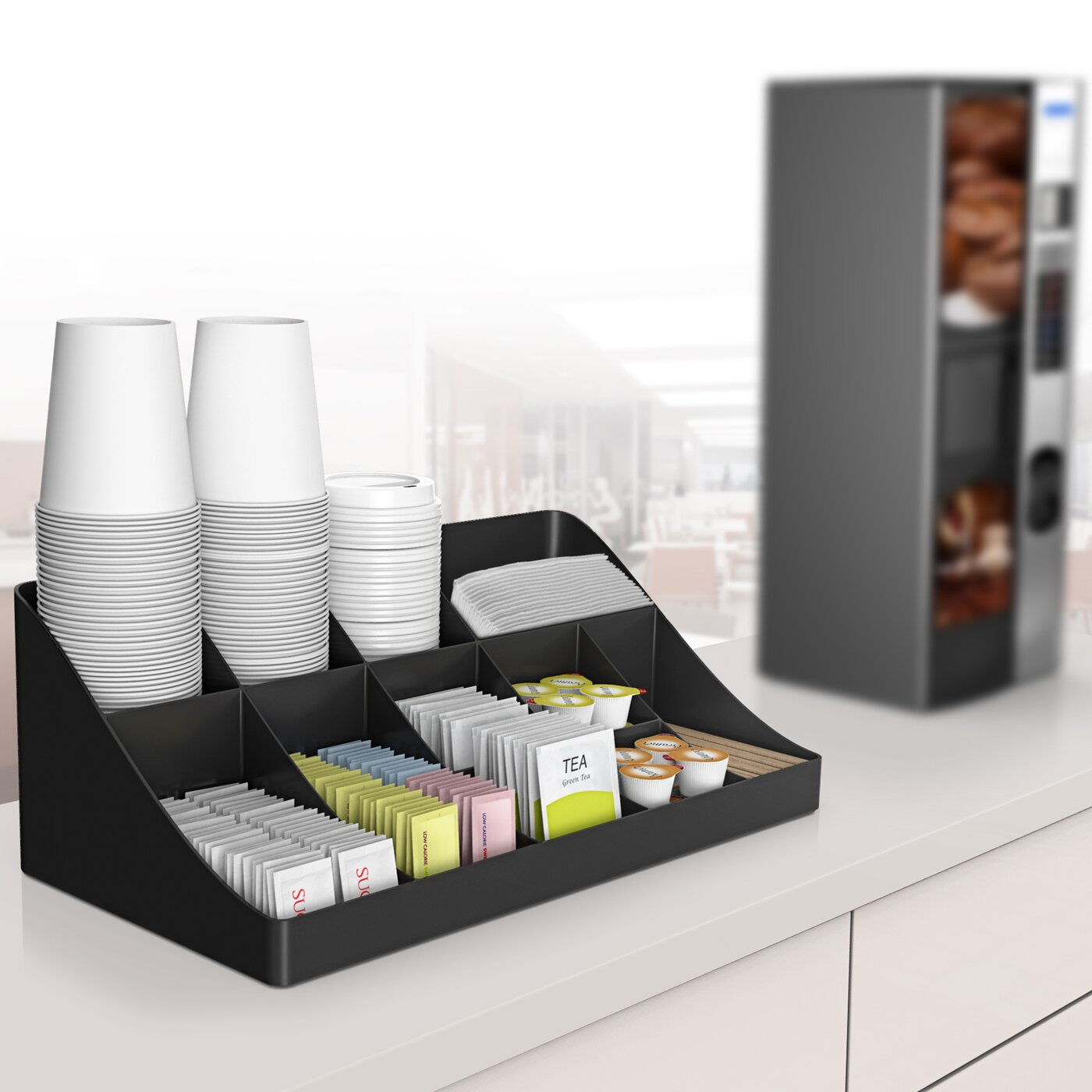 Mind Reader 13 Compartment Breakroom Coffee Condiment