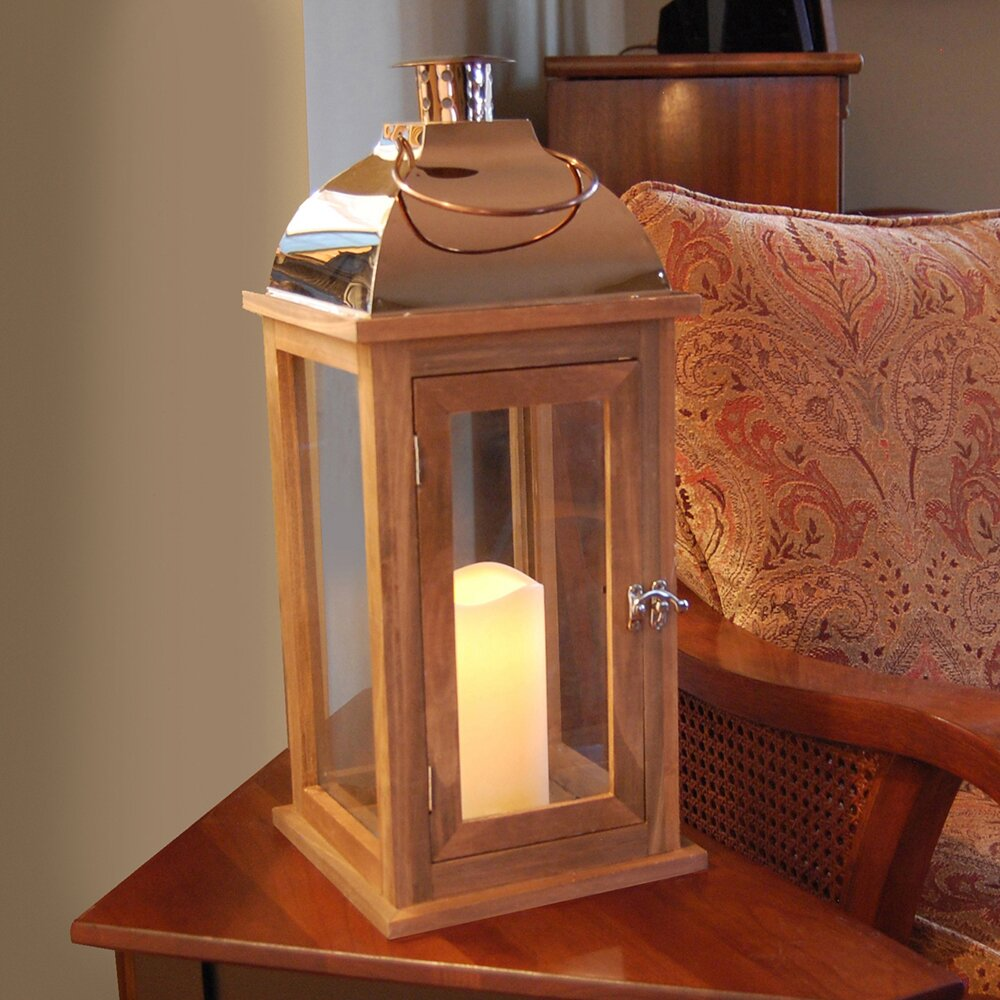 Lumabase Wooden Lantern With Copper Roof And Led Candle
