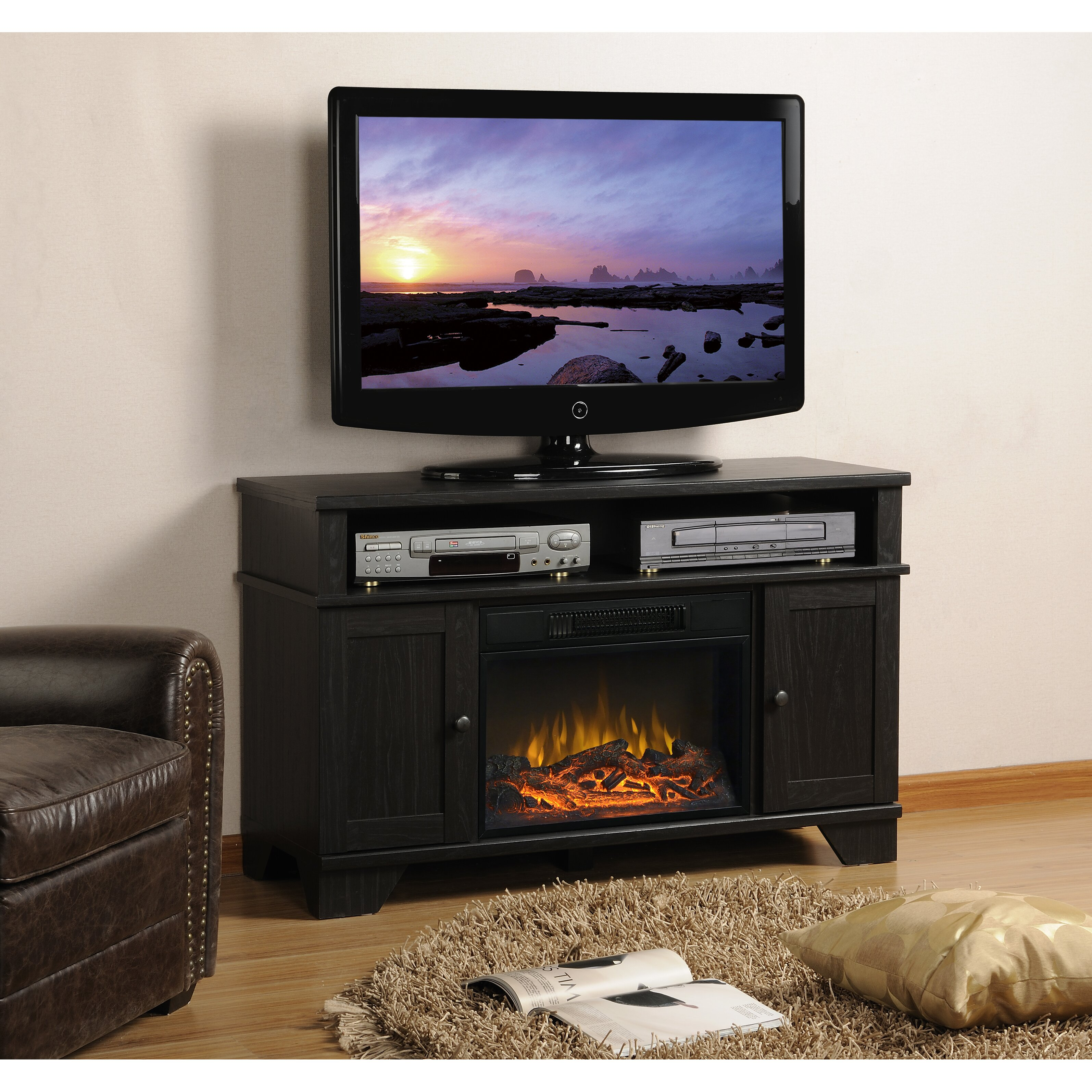 Homestar Hamilton Tv Stand With Electric Fireplace Reviews Wayfair