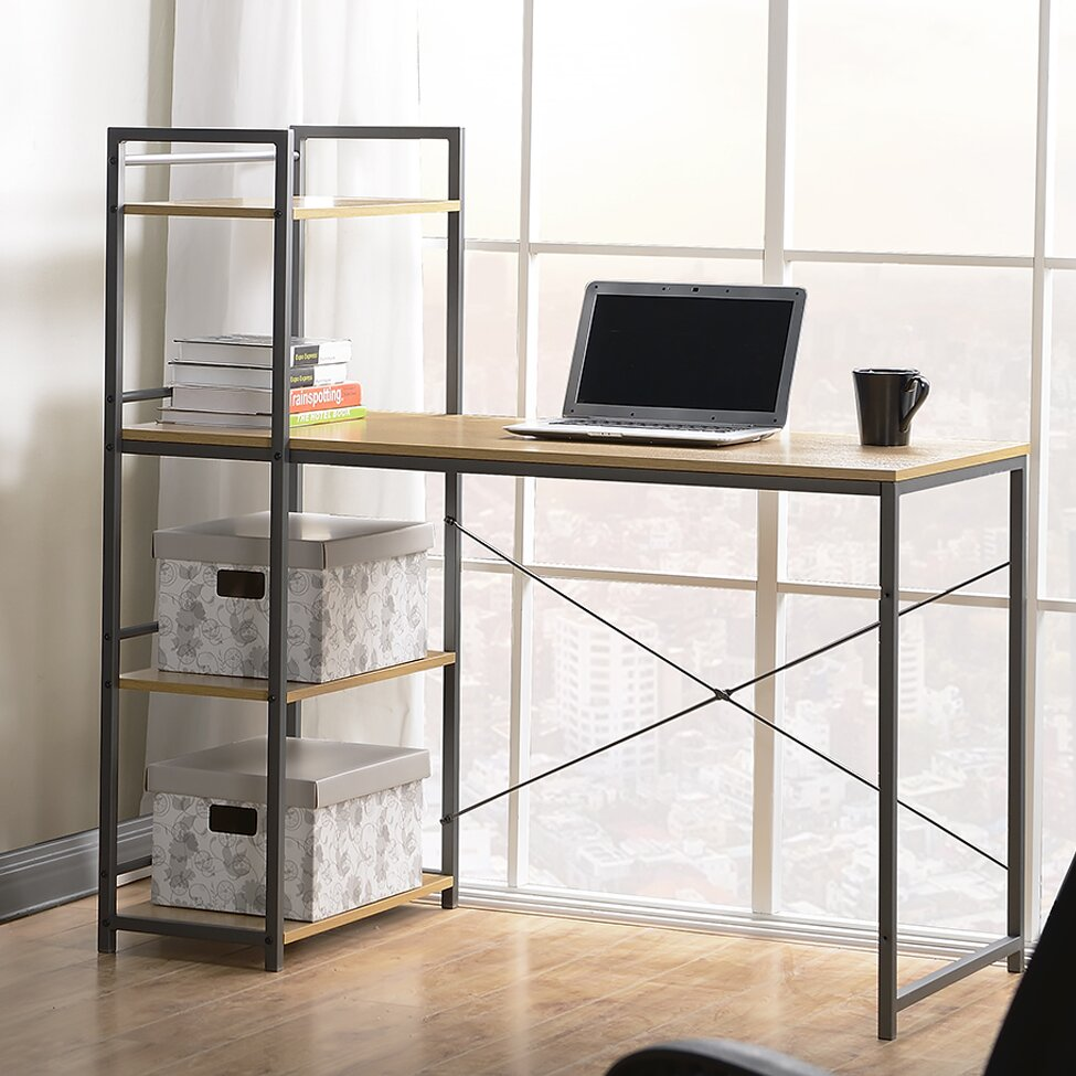 Homestar Computer Desk with Built-In 4 Shelf Bookcase & Reviews | Wayfair