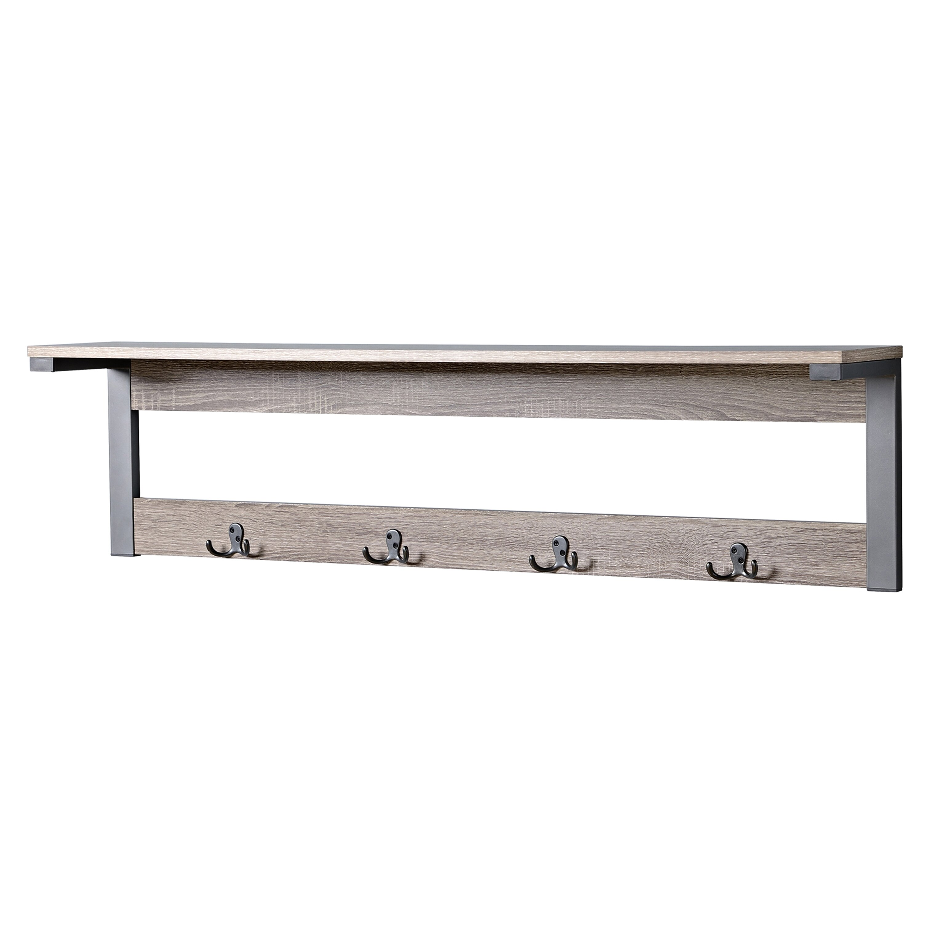 Homestar 1 Shelf 4 Hook Entryway Wall Mounted Coat Rack