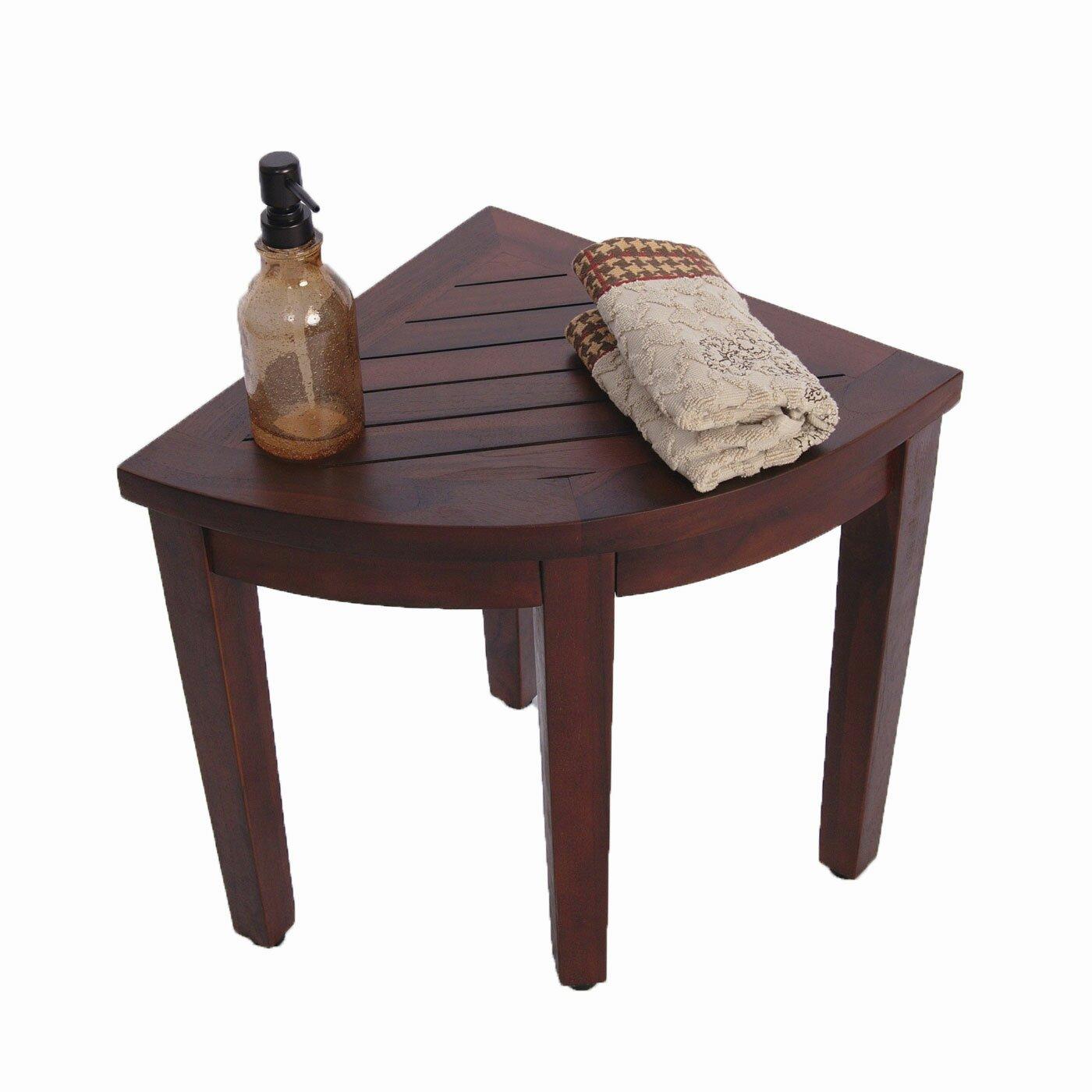Decoteak Oasis Teak Corner Shower Seat Stool Chair Bench Reviews Wayfair