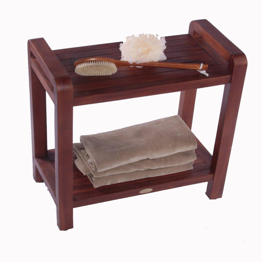 Decoteak Outdoor Teak Bench Shelf End Table Reviews Wayfair