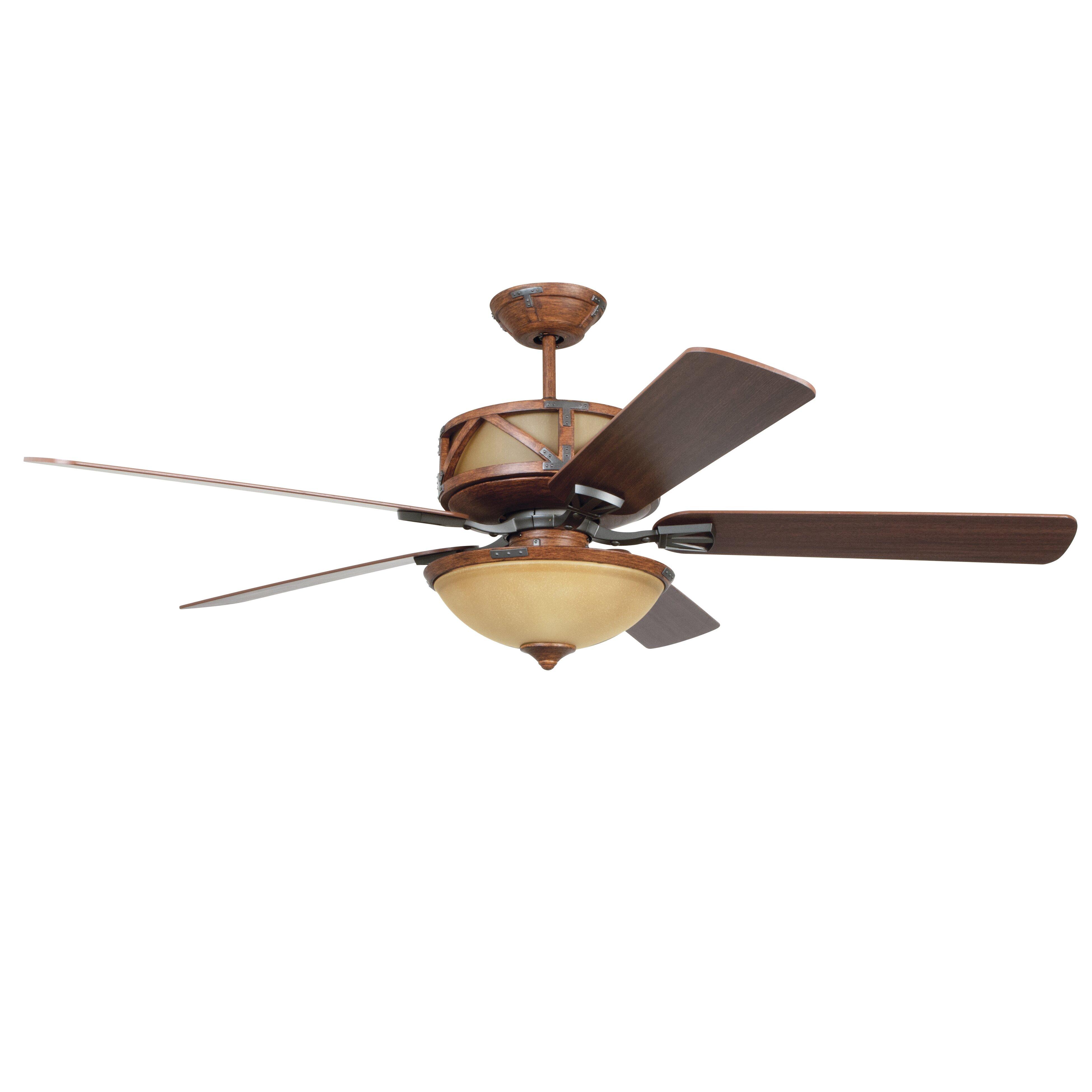 Ellington 60 Deer Lodge 5 Blade Ceiling Fan With Wall