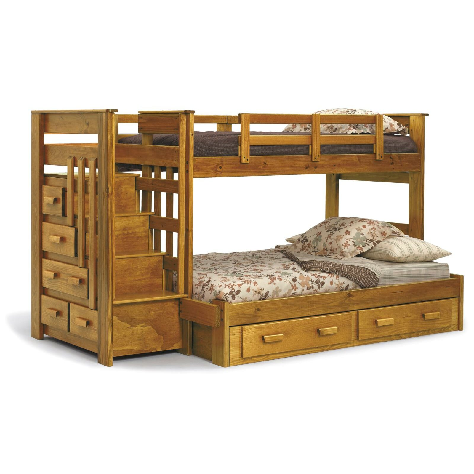 chelsea home twin over full bunk bed with storage reviews wayfair. Black Bedroom Furniture Sets. Home Design Ideas
