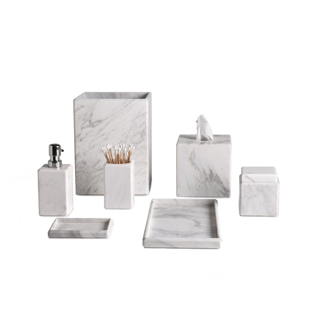 Waterworks studio luna marble tissue box cover reviews for Marble bathroom accessories