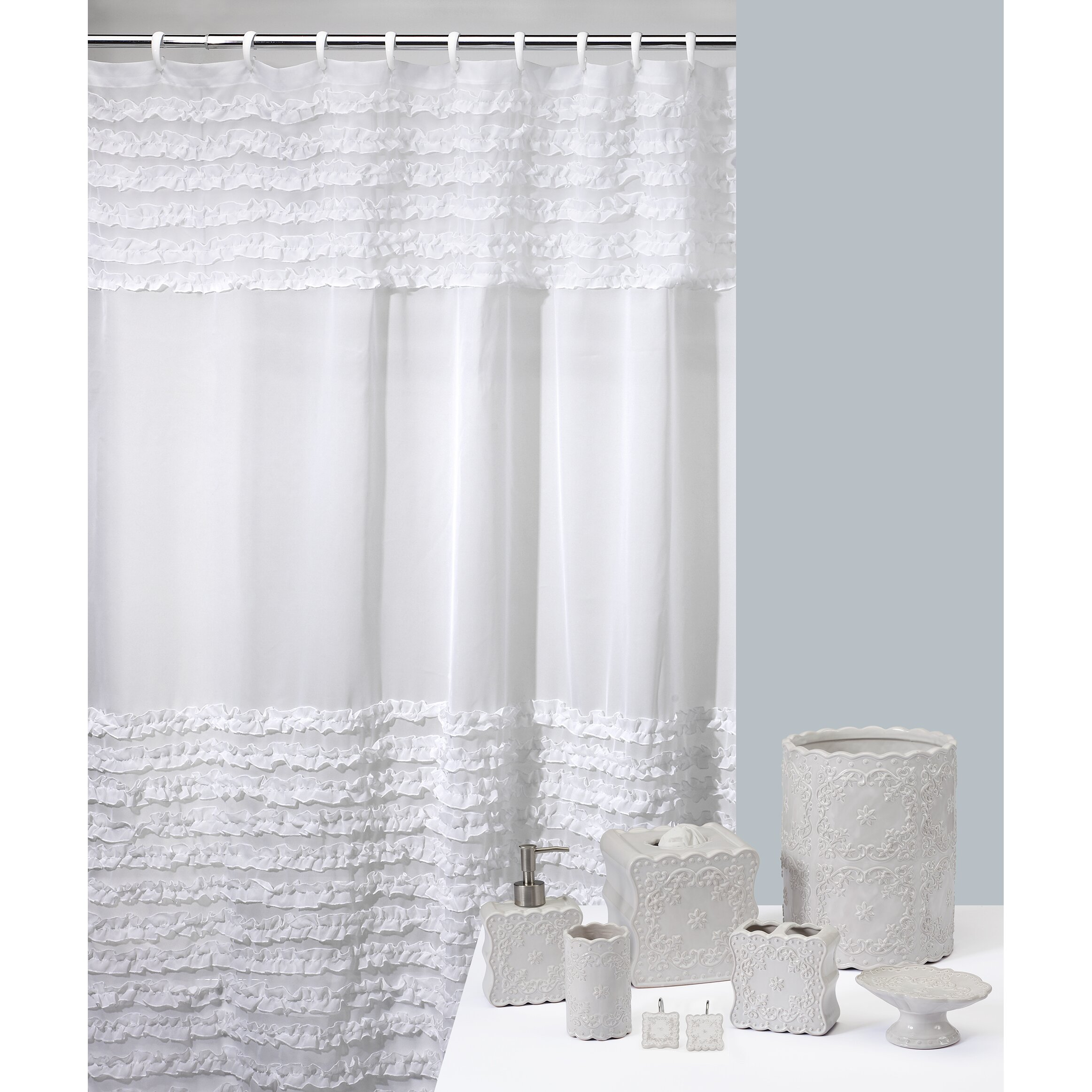 creative bath ruffles polyester shower curtain amp reviews creative bath poinsetta shower curtain ebay