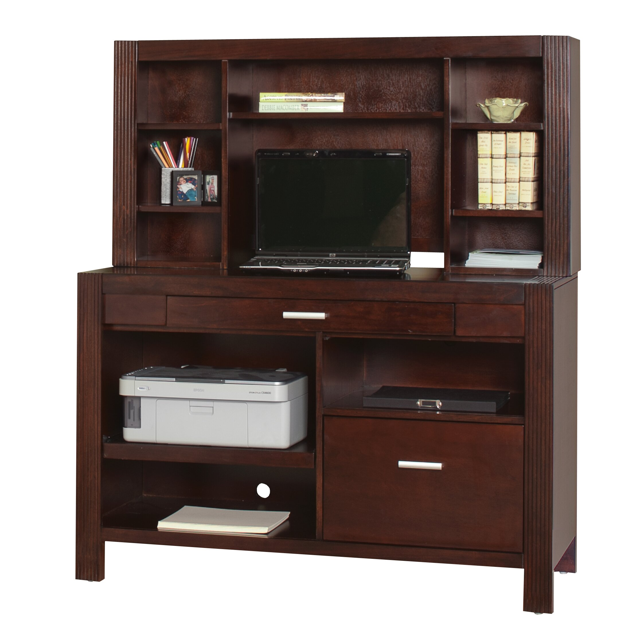Kathy ireland home by martin furniture carlton office 23 for Impressive office desk hutch details