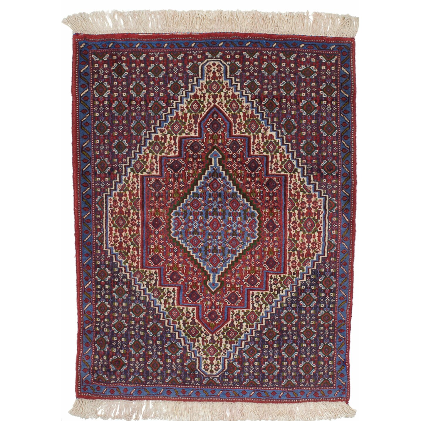 Hand Knotted Persian Hamadan Wool Area Rug Ebth: ECARPETGALLERY Senneh Persian Hand-Knotted Blue Area Rug