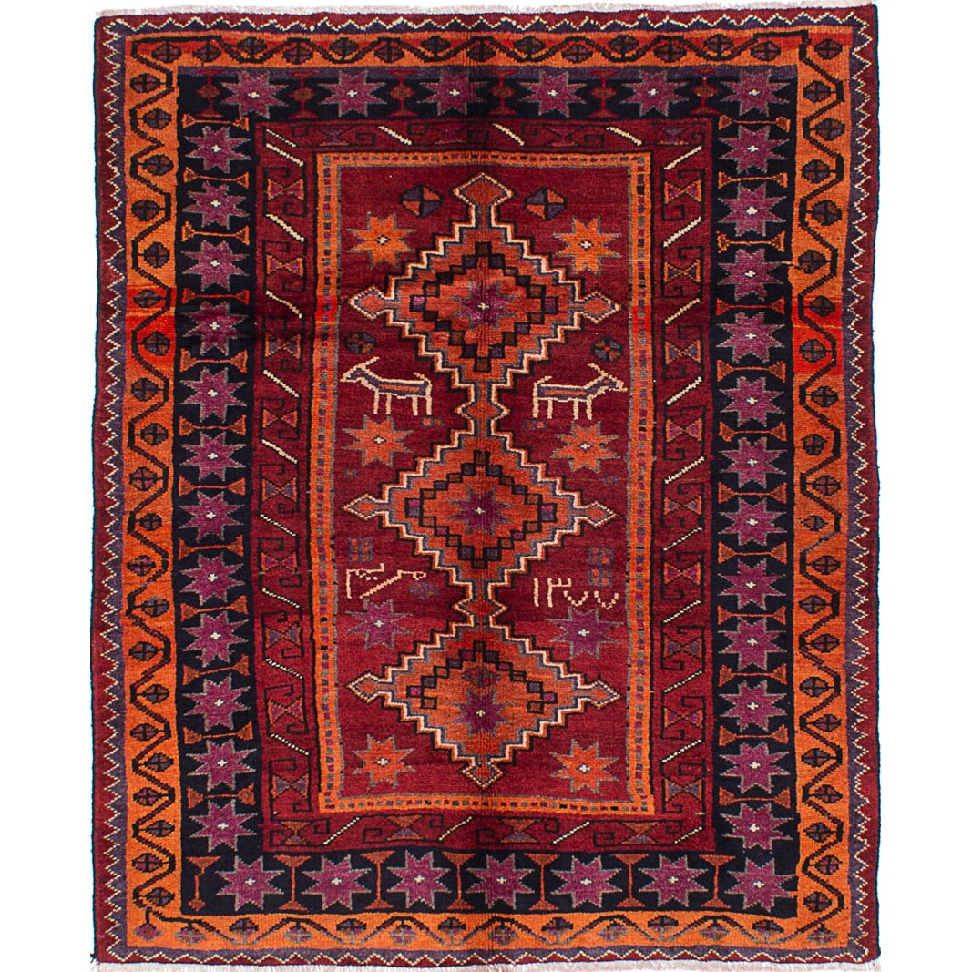 Hand Knotted Persian Hamadan Wool Area Rug Ebth: ECARPETGALLERY Koliai Persian Hand-Knotted Red Area Rug
