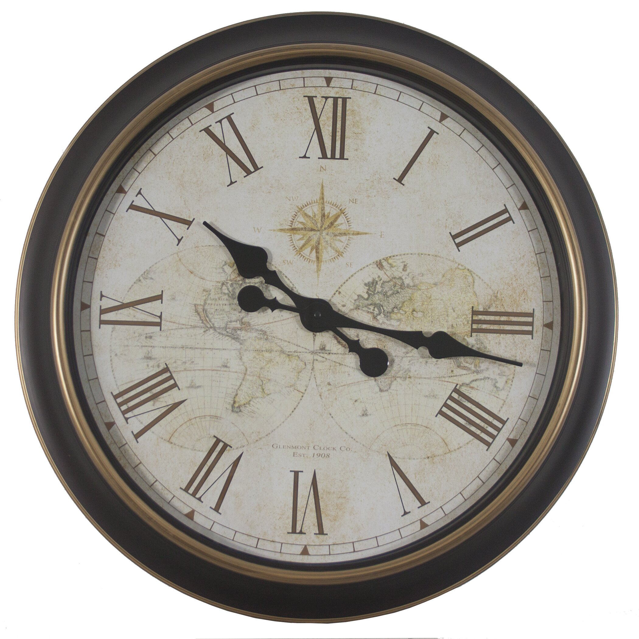 Darby Home Co Oversized 24 Antique Map Wall Clock