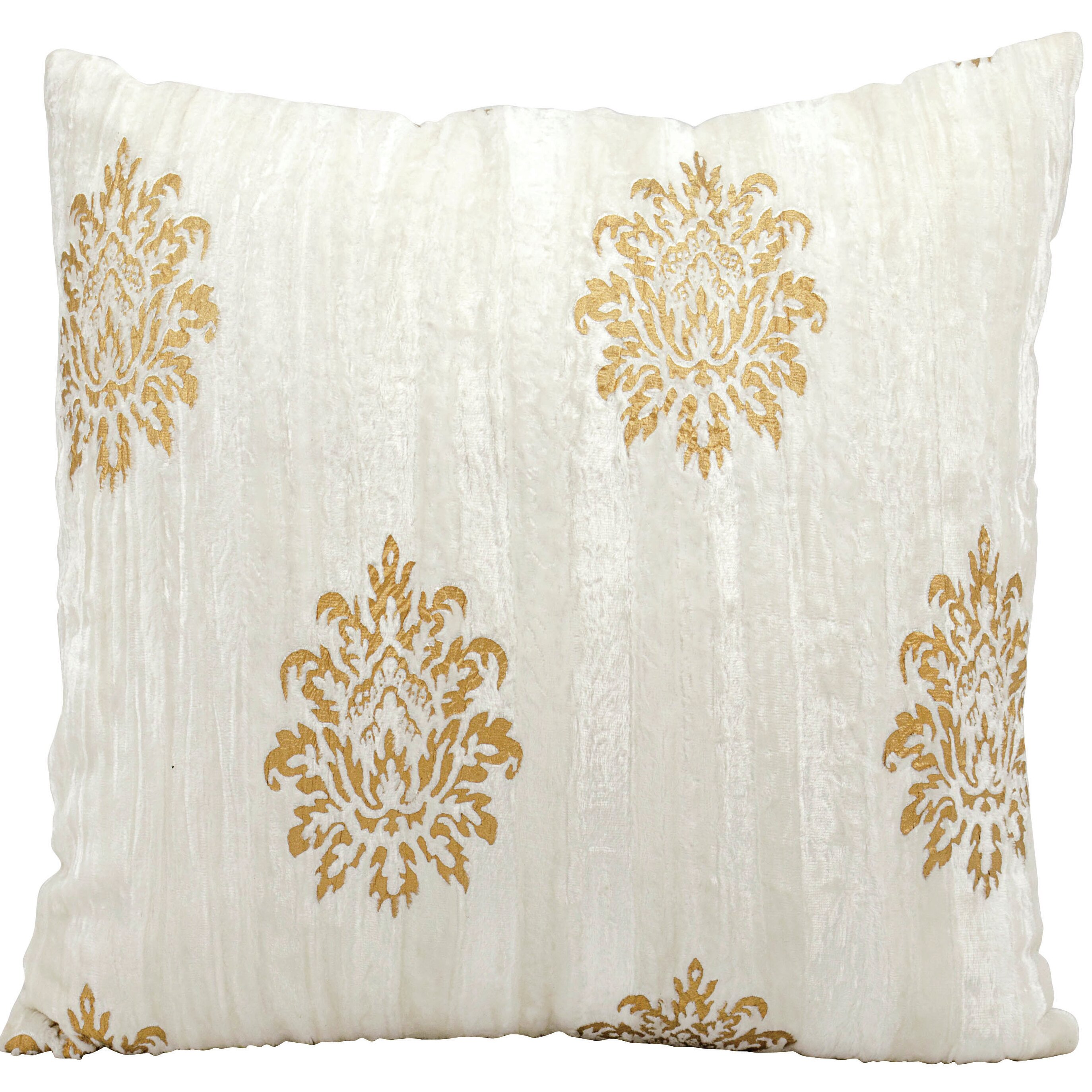 Michael Amini Gold Damask Velvet Throw Pillow Wayfair