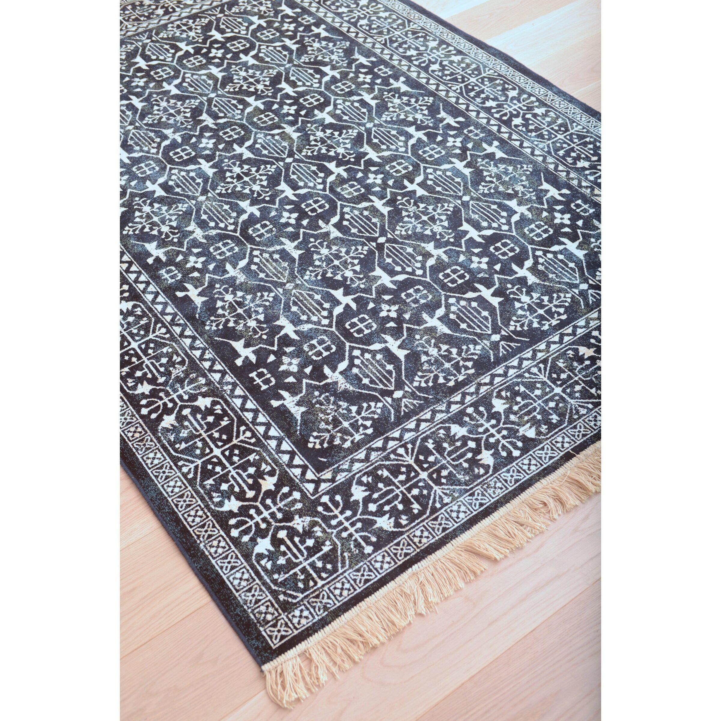 abacasa sonoma navy white area rug reviews wayfair. Black Bedroom Furniture Sets. Home Design Ideas