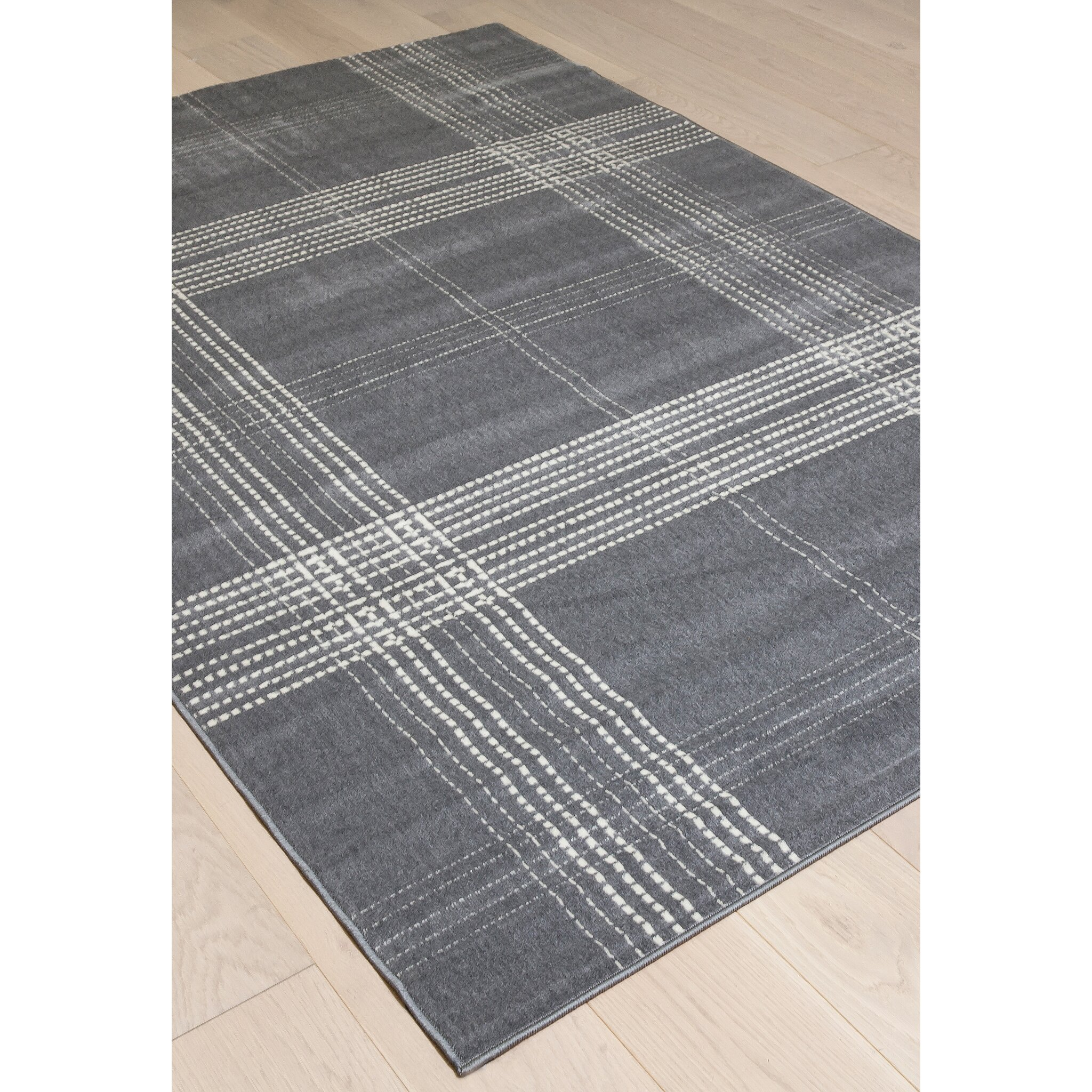 Dining Room Table Size For 8 Abacasa Broadway Plaid Gray Ivory Area Rug Wayfair