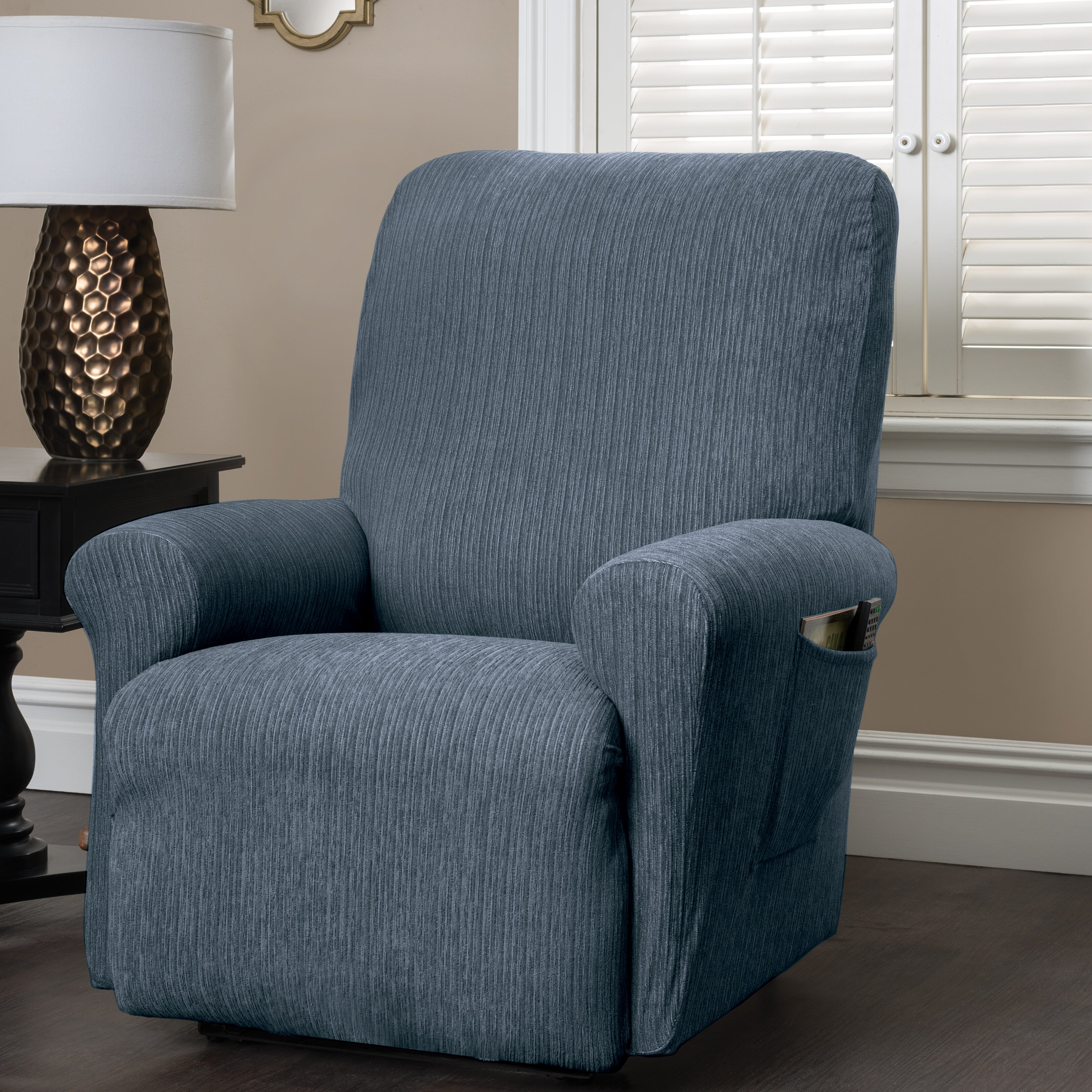innovative textile solutions heather stripe stretch recliner slipcover reviews wayfair. Black Bedroom Furniture Sets. Home Design Ideas