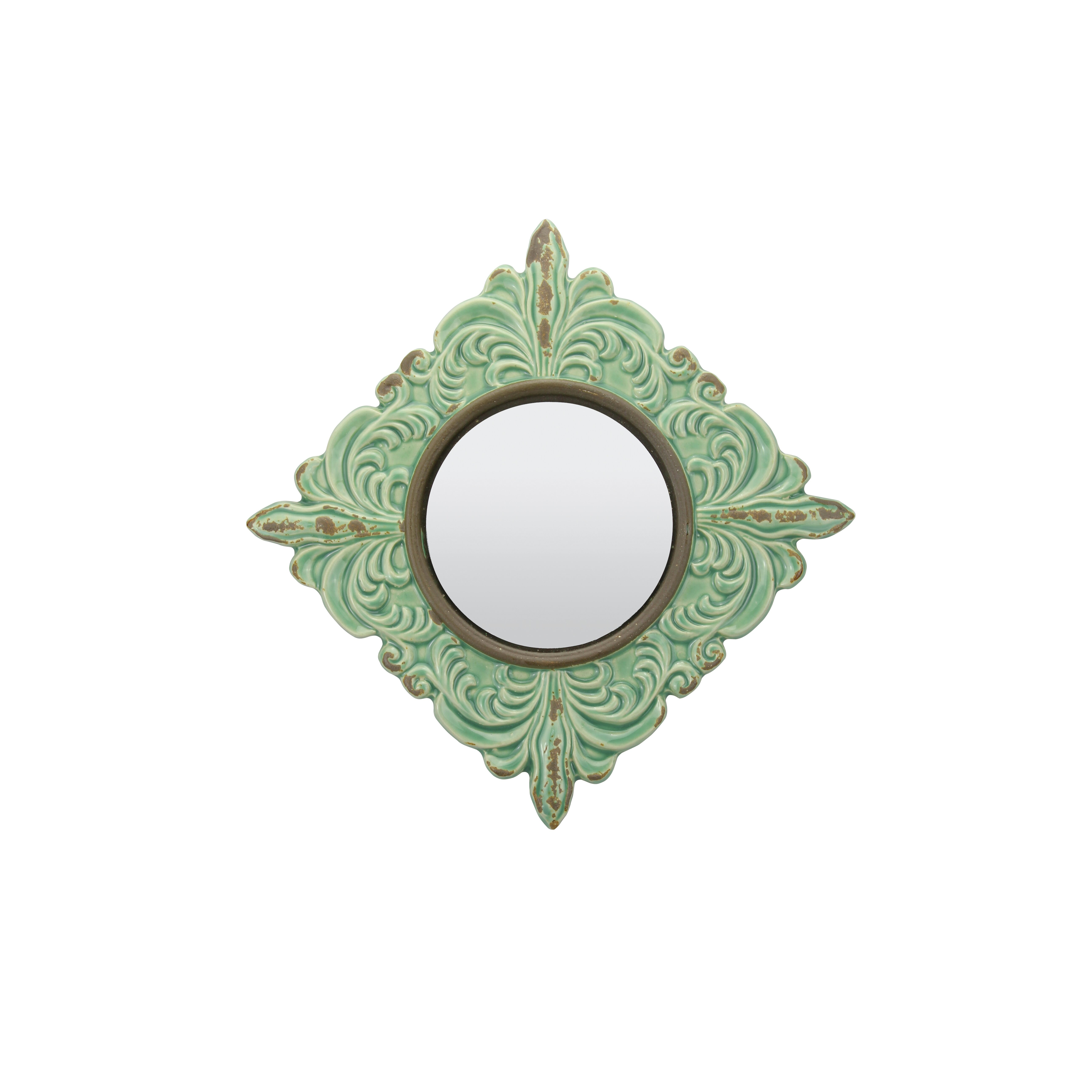 CKK Home Du00e9cor, LP Parisian Worn Ceramic Distressed Wall Mirror in Turquoise u0026 Reviews : Wayfair.ca