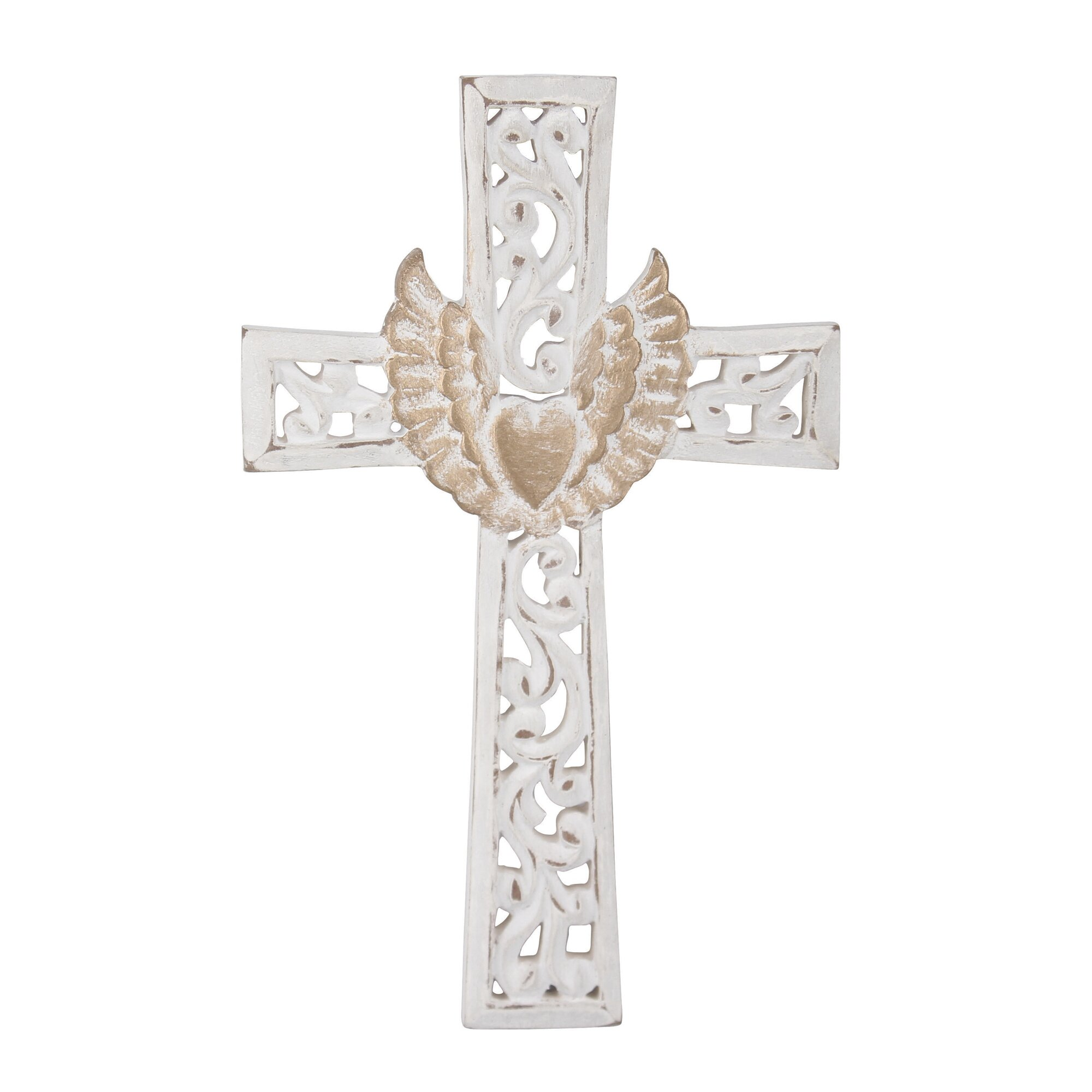 Ckk home d cor lp stonebriar winged heart cross wall decor reviews wayfair Home decor wall crosses