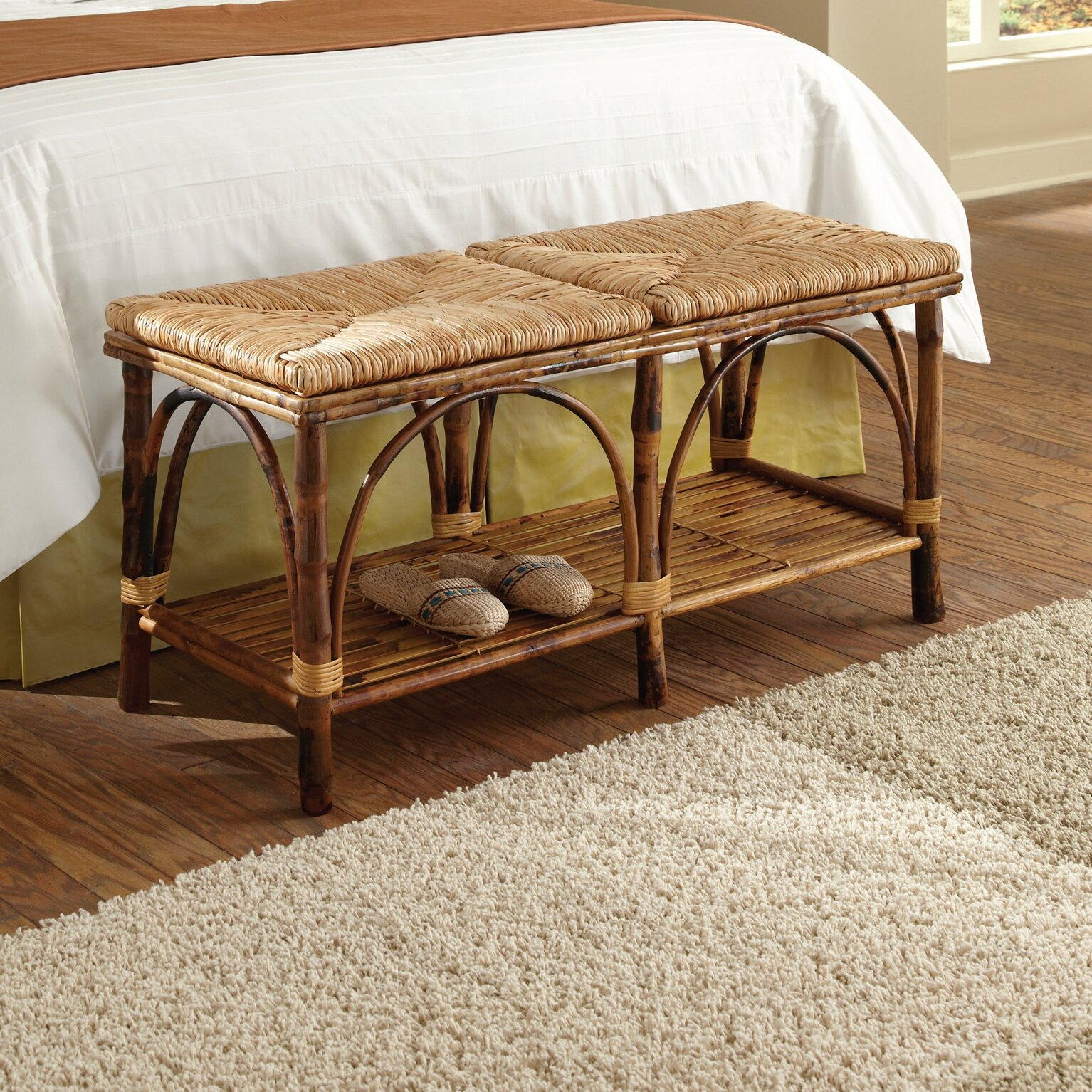 Kenian Coastal Chic Rattan Bedroom Bench Reviews Wayfair