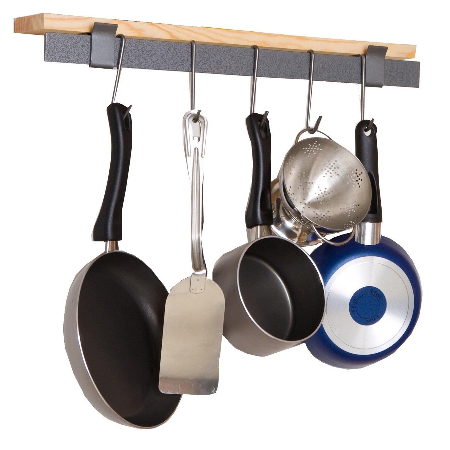 Pot Rack: Enclume RACK IT UP! Wall Mounted Bar And Bamboo Shelf Pot