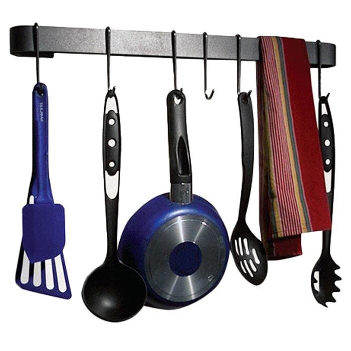 enclume rack it up wall mounted utensil bar pot rack reviews wayfair. Black Bedroom Furniture Sets. Home Design Ideas