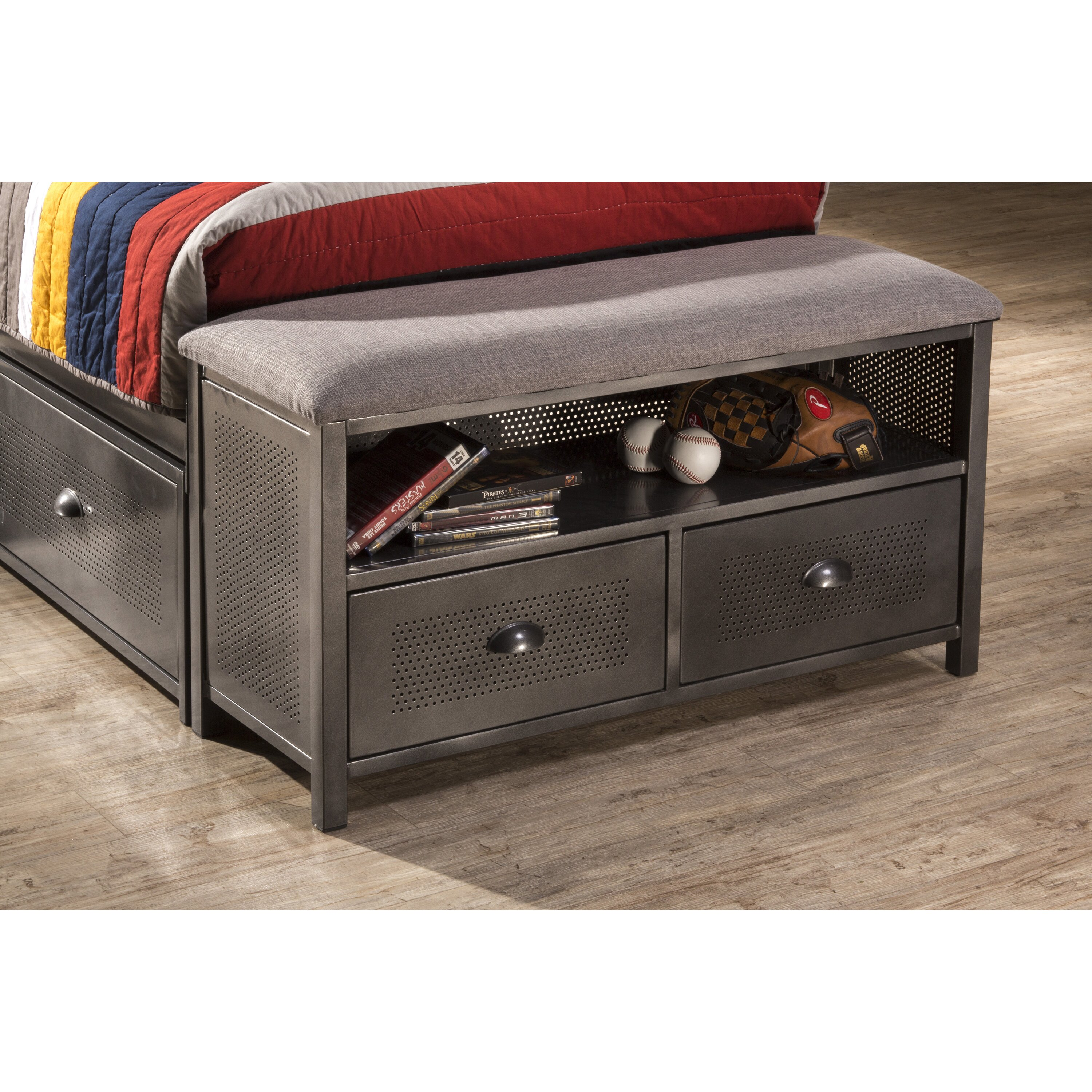 Hillsdale Urban Quarters Metal Storage Bedroom Bench Wayfair