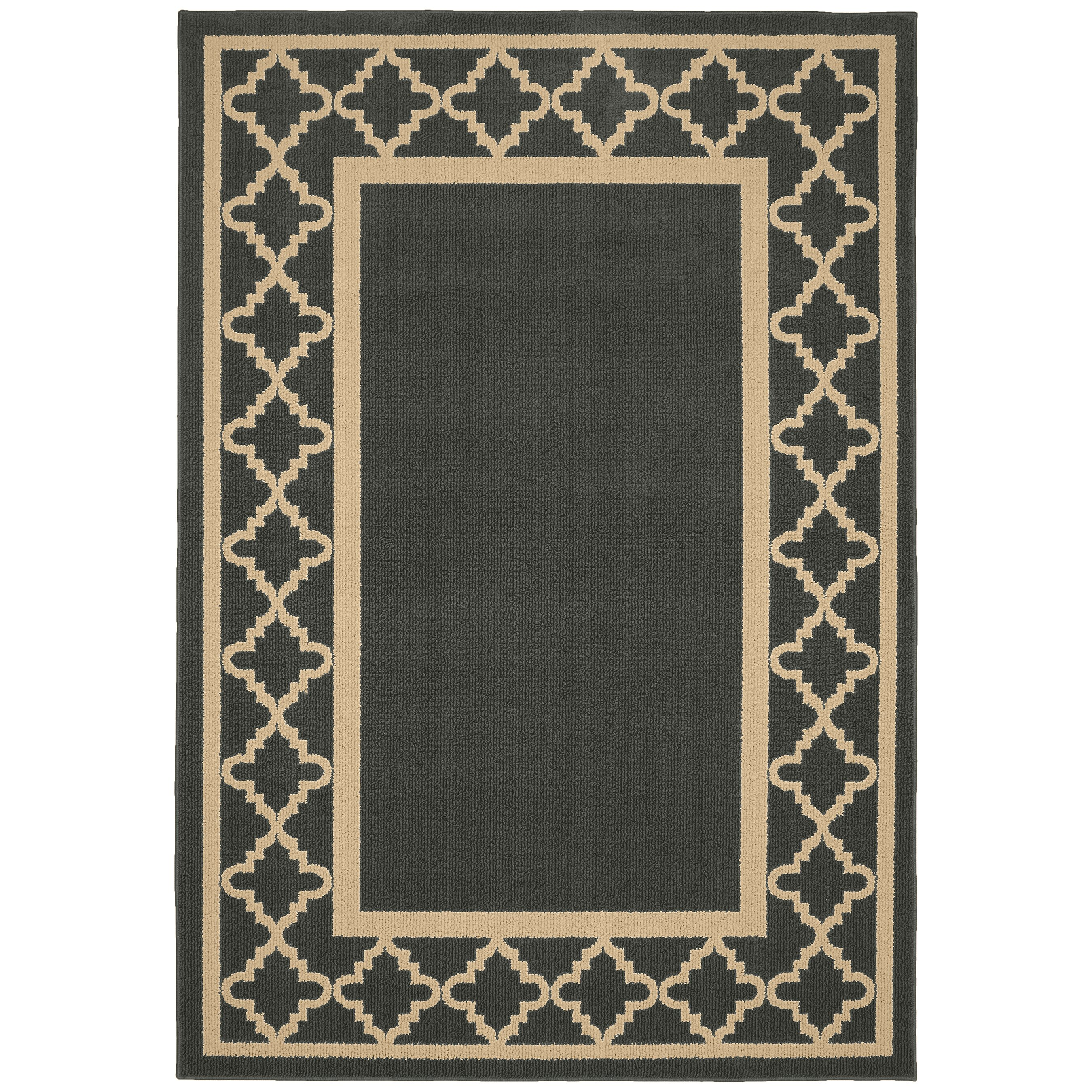 Garland rug moroccan frame gray tan area rug wayfair for Grey and tan rug