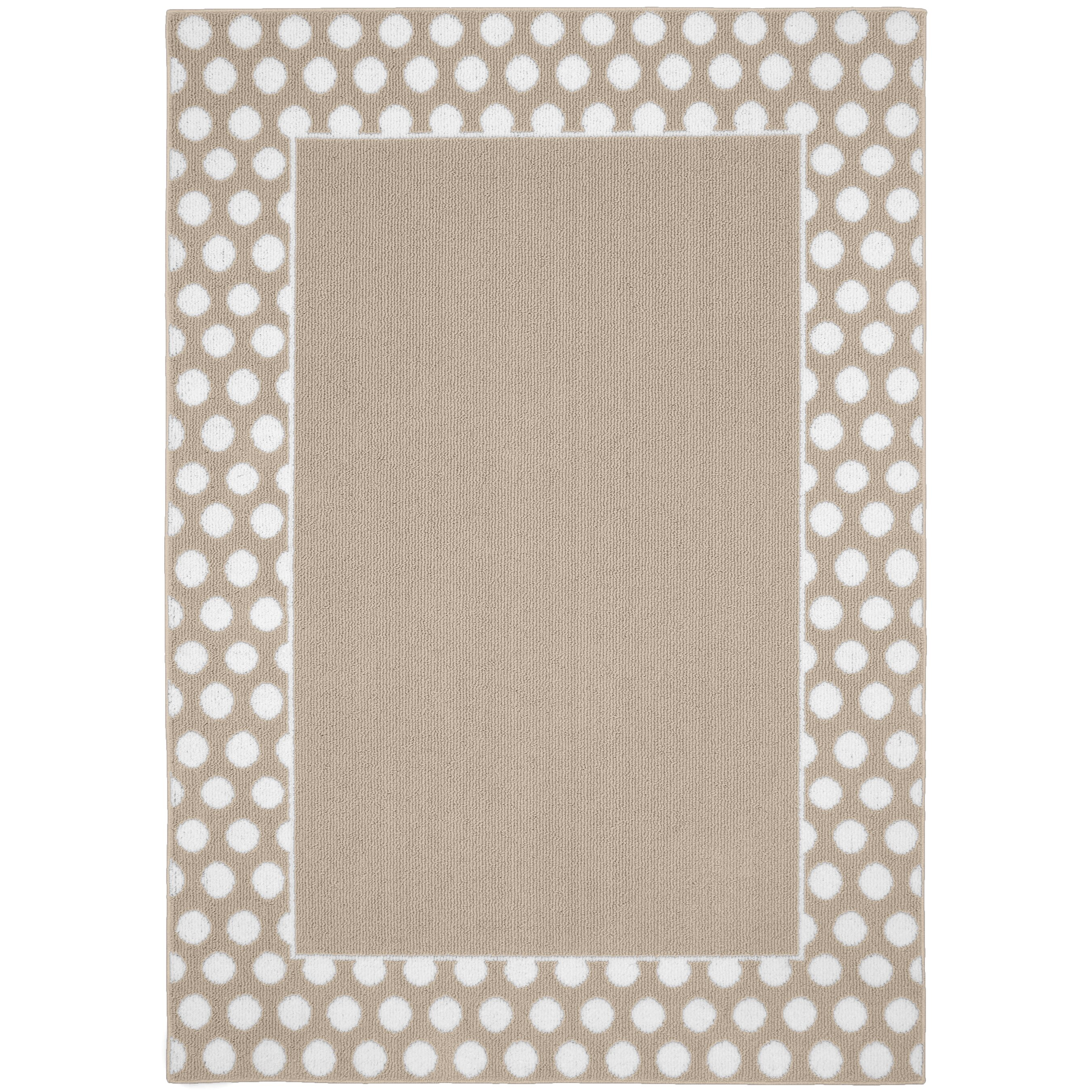 Garland Rug Polka Dot Frame Tan/White Area Rug