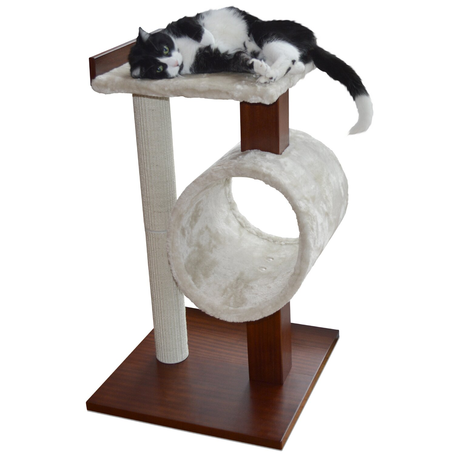 Petfusion modern cat activity tree scratching post for Cat tree steps