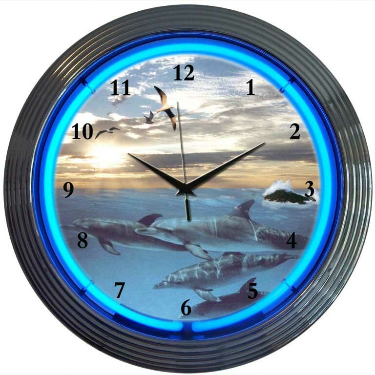 "Neonetics Bar and Game Room 15"" Dolphins at Sea Wall Clock ..."