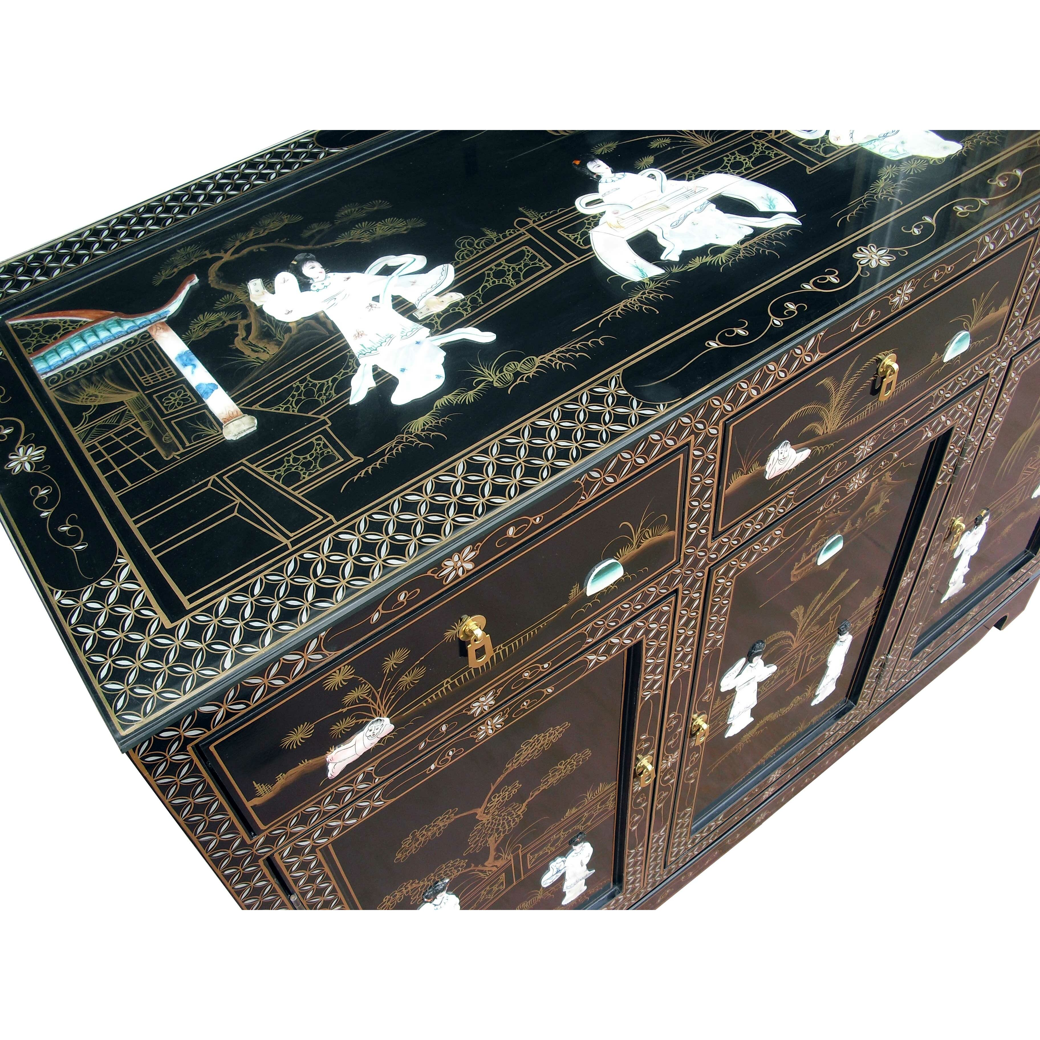 Grand international decor mother of pearl 3 door 3 drawer for International decor
