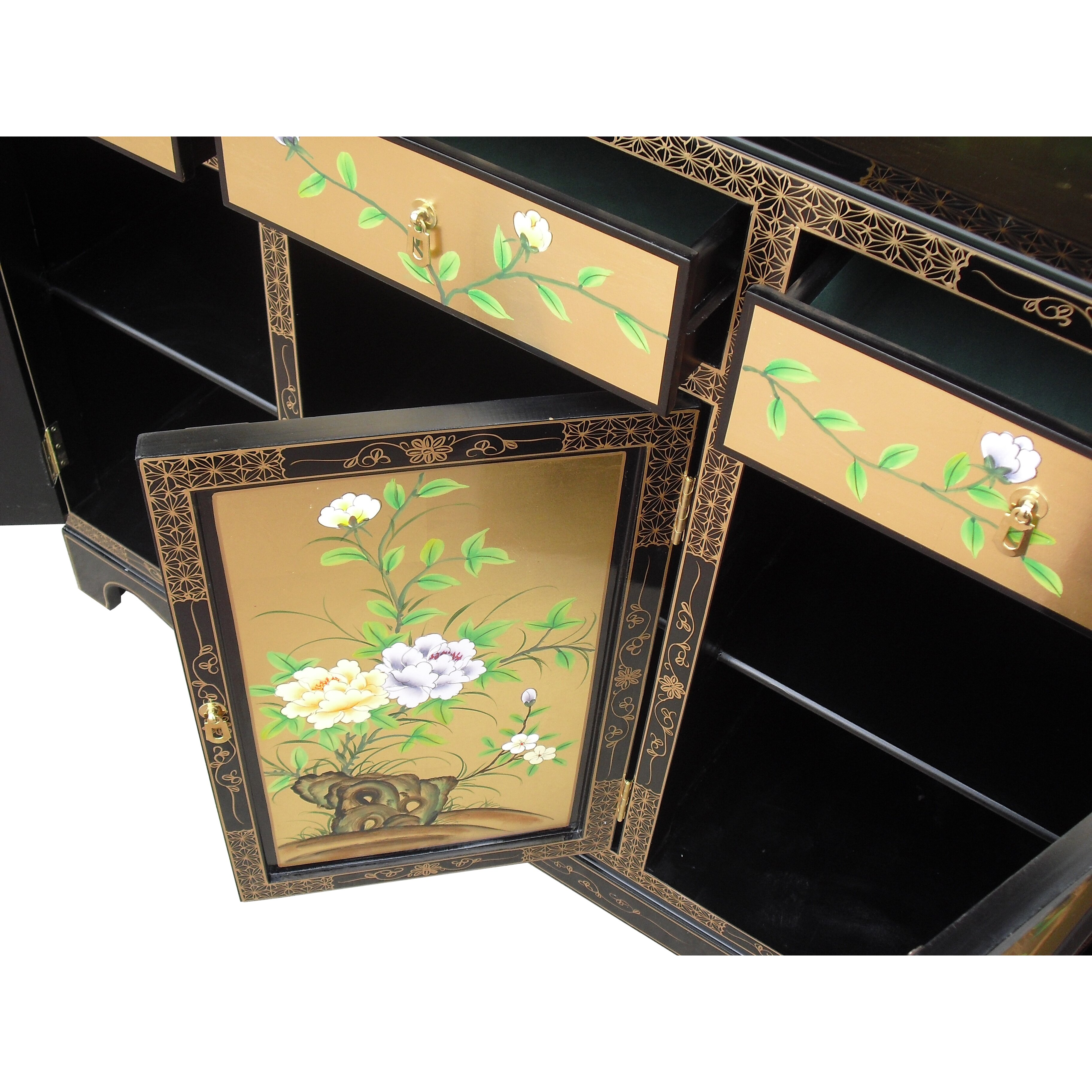 Grand international decor gold leaf 3 door 3 drawer for International decor uk