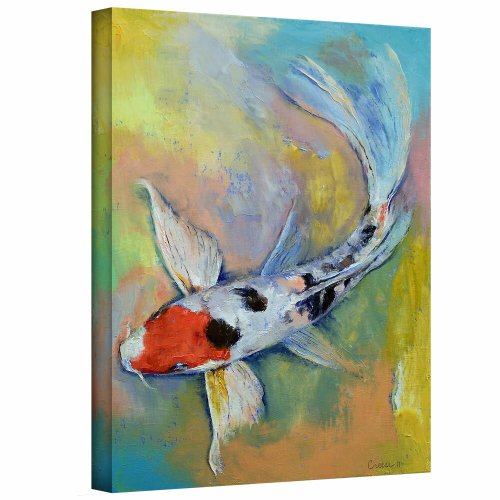 Artwall 39 maruten butterfly koi 39 by michael creese painting for Koi wall art