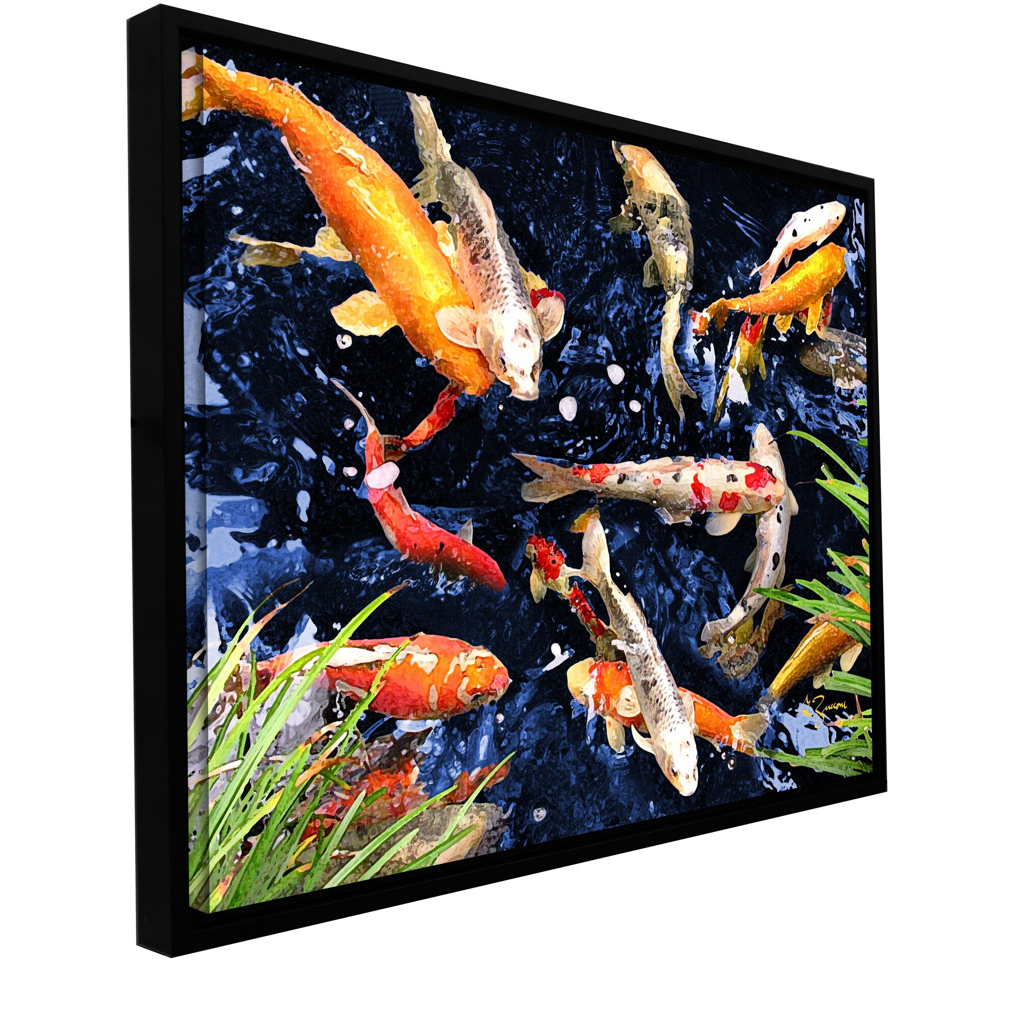 Artwall 39 koi 39 by george zucconi framed painting print on for Koi canvas print