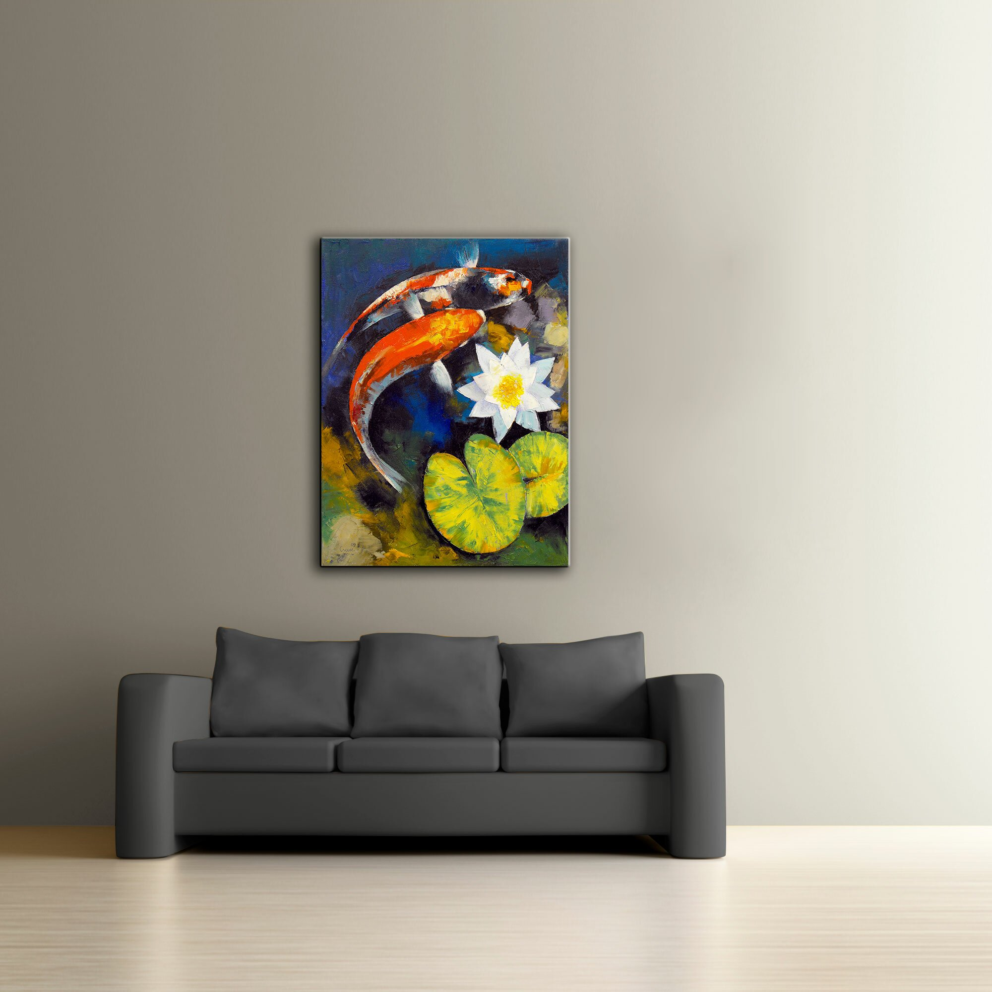 Artwall 39 koi fish and water lily 39 by michael creese framed for Koi canvas print